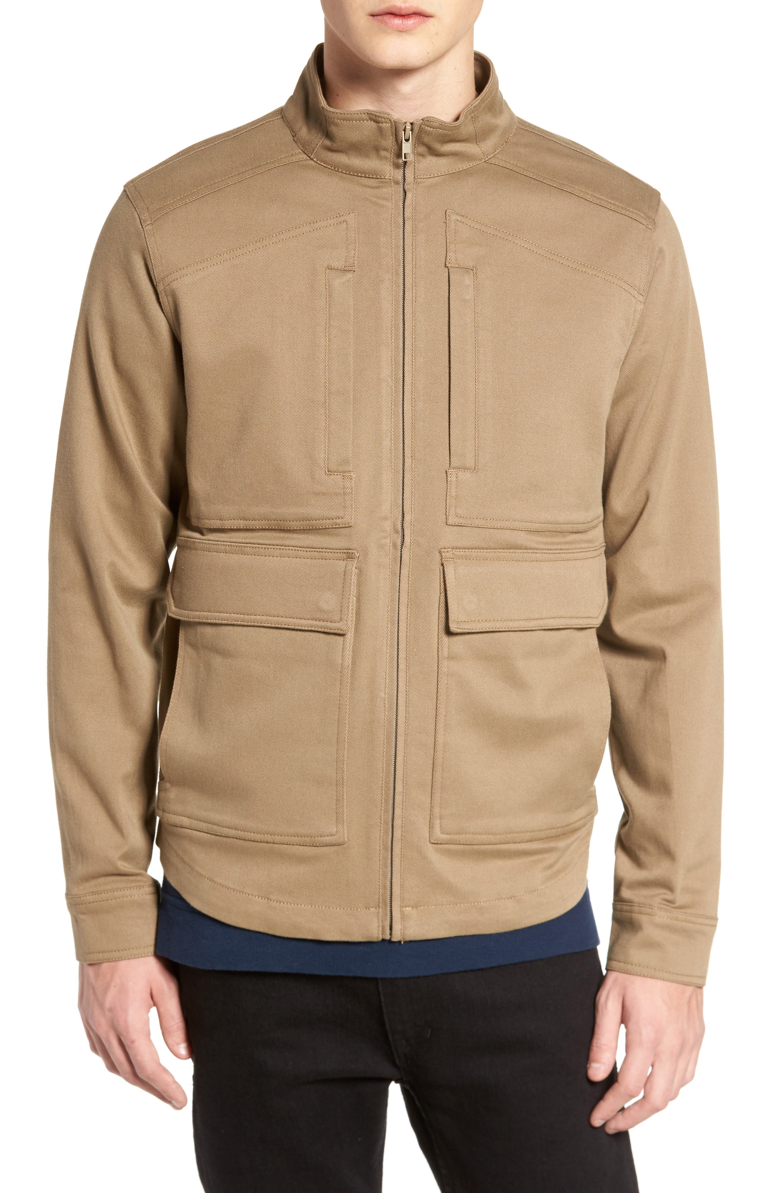 Brushed Twill Zip Jacket,                             Alternate thumbnail 4, color,