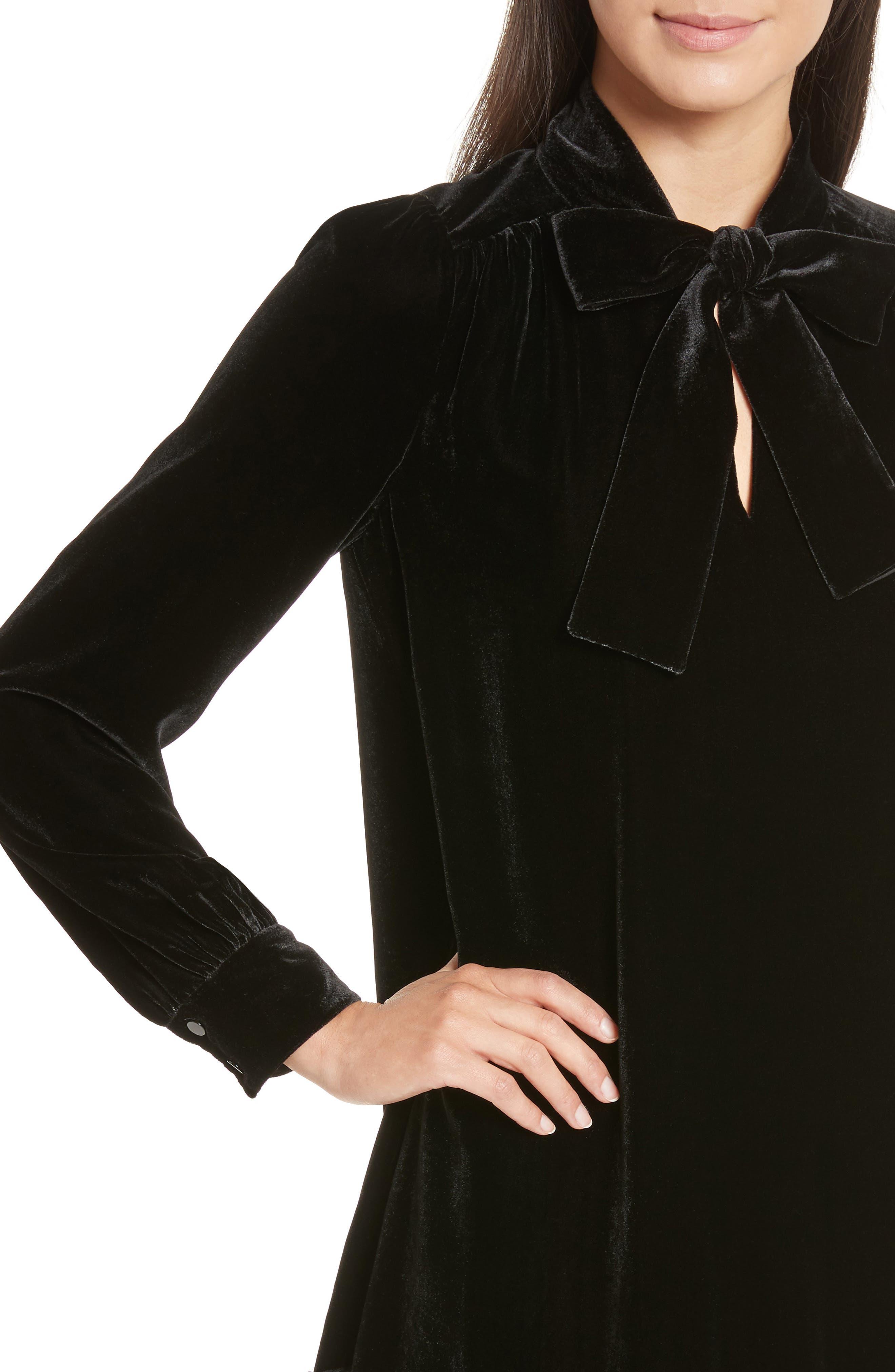 tie front velvet shift dress,                             Alternate thumbnail 4, color,                             001