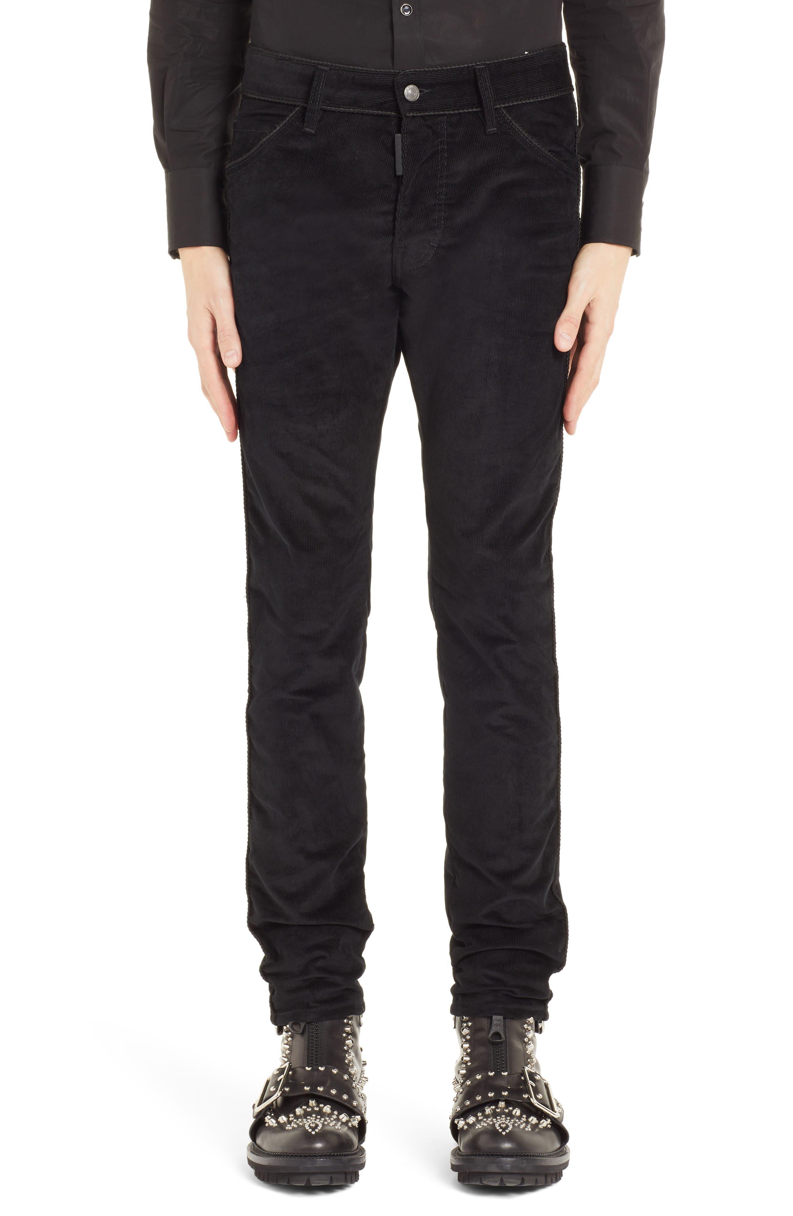 Skinny Straight Leg Corduroy Pants,                         Main,                         color, BLACK