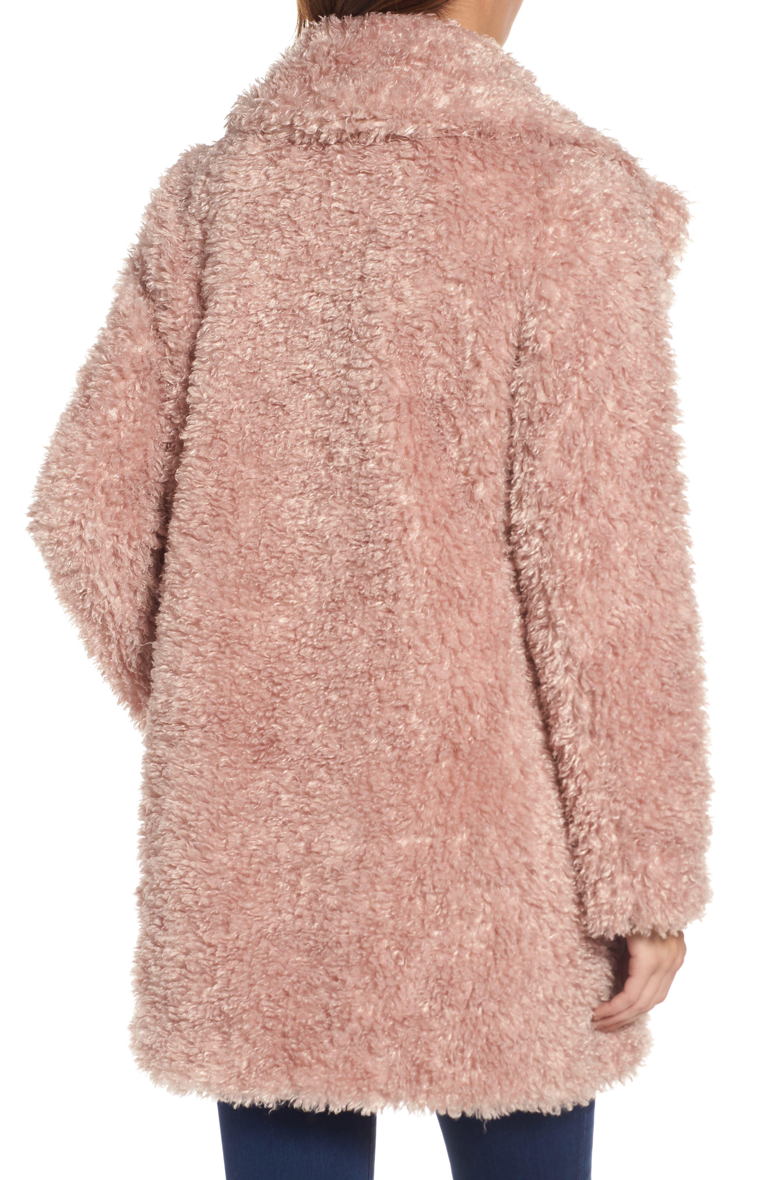 'Teddy Bear' Notch Collar Reversible Faux Fur Coat,                             Alternate thumbnail 9, color,