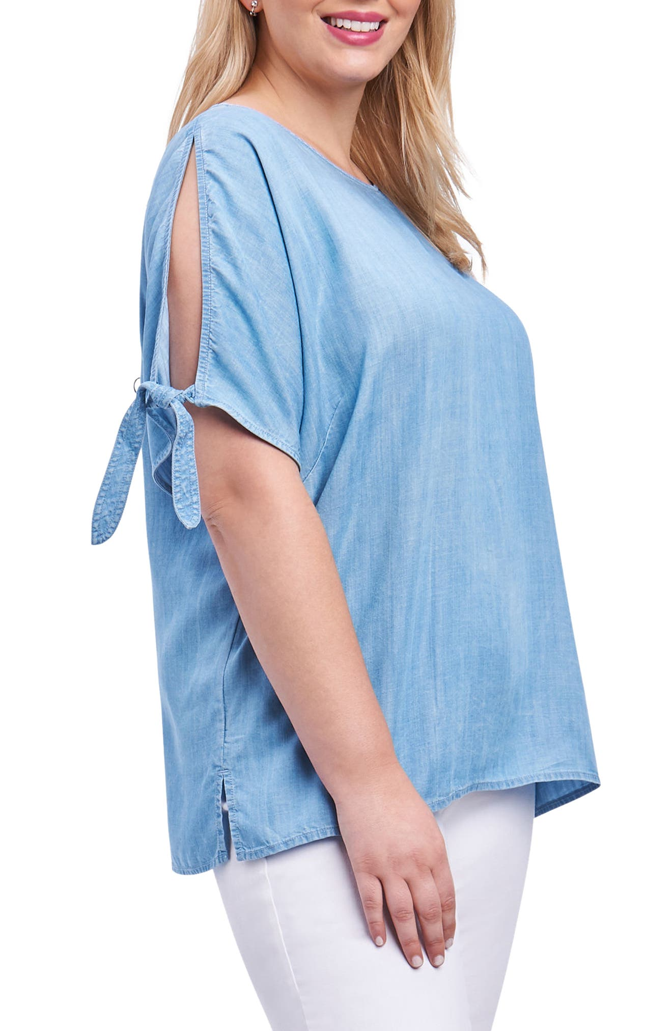 Laura Tie Sleeve Chambray Shirt,                             Alternate thumbnail 3, color,