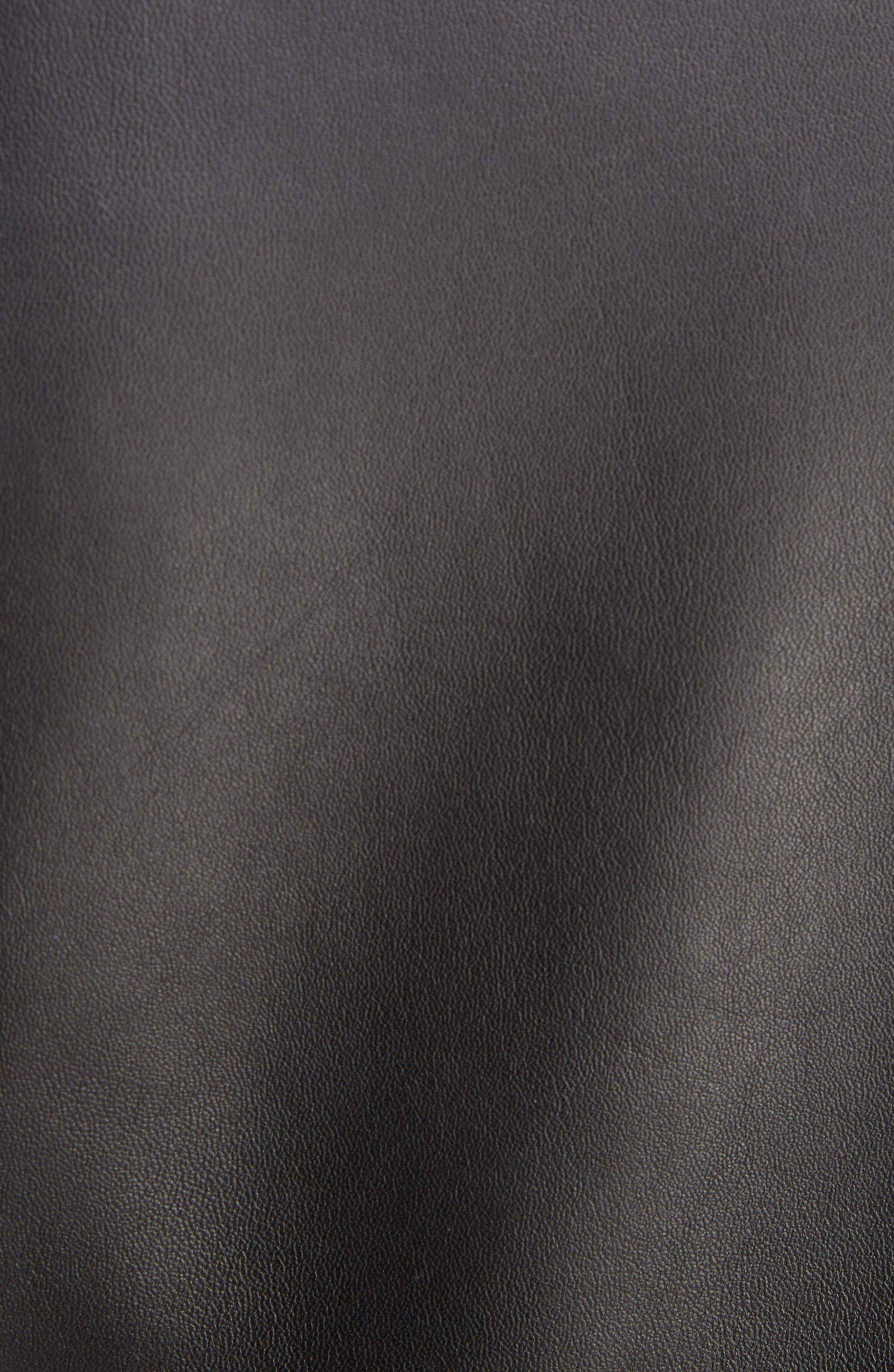 Studded Leather Moto Jacket,                             Alternate thumbnail 6, color,                             001