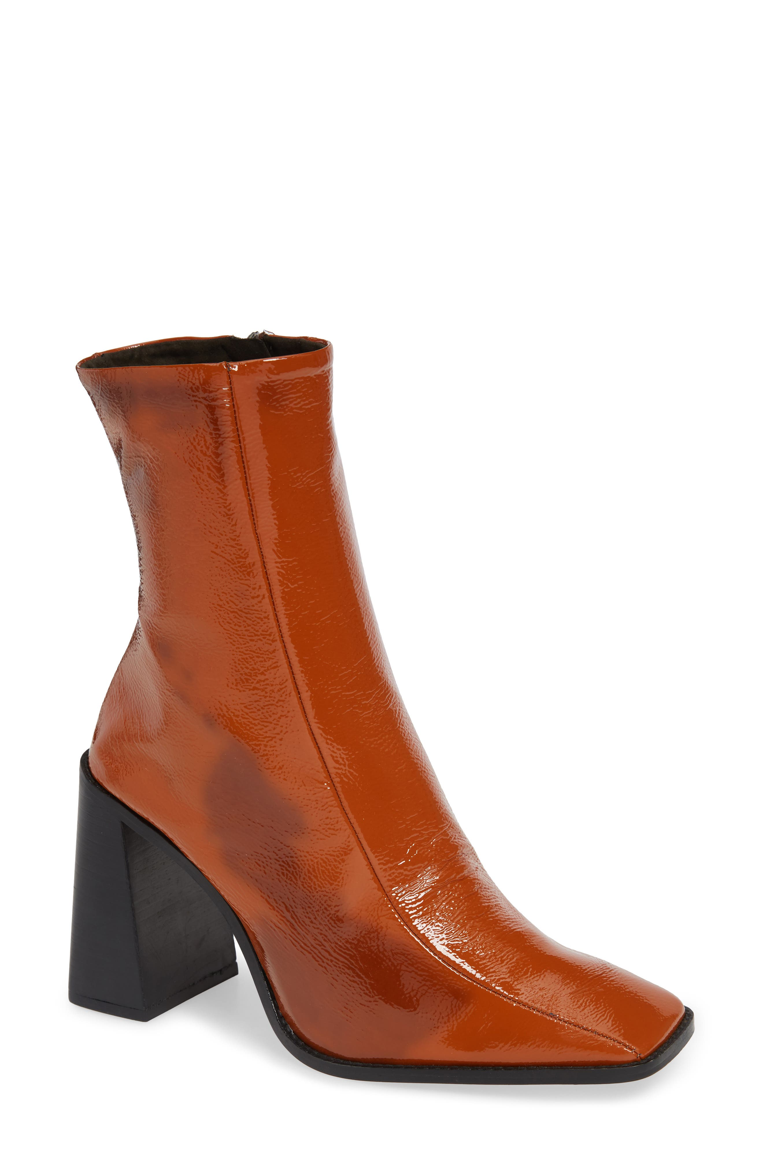 Topshop Hurricane Leather Bootie- Brown