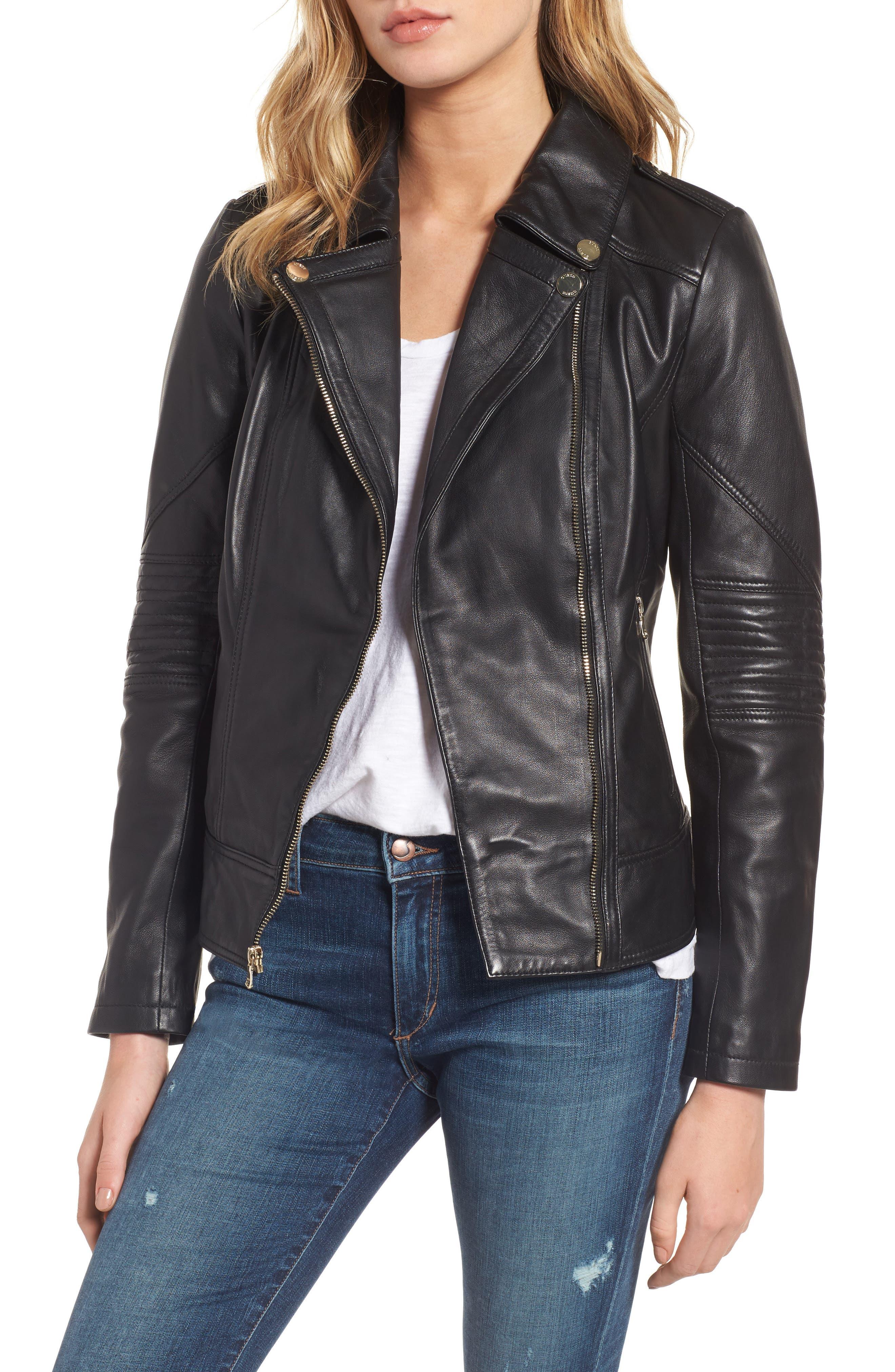 Leather Moto Jacket,                         Main,                         color,