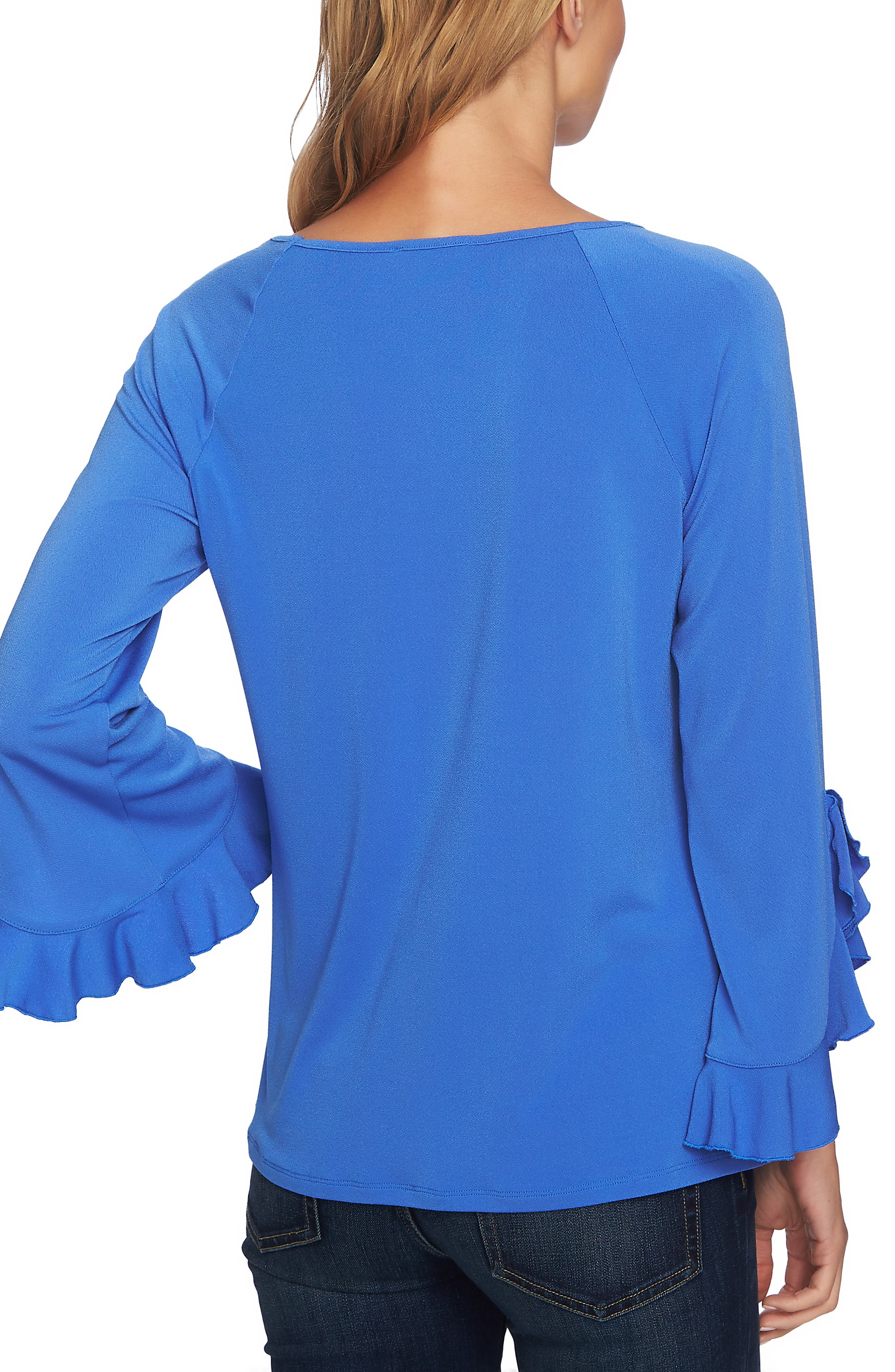 Ruffle Bell Sleeve Top,                             Alternate thumbnail 2, color,                             RICH PERI