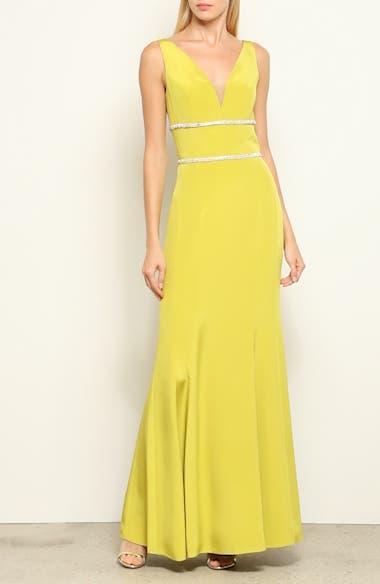 Embellished Silk V-Neck Evening Dress, video thumbnail