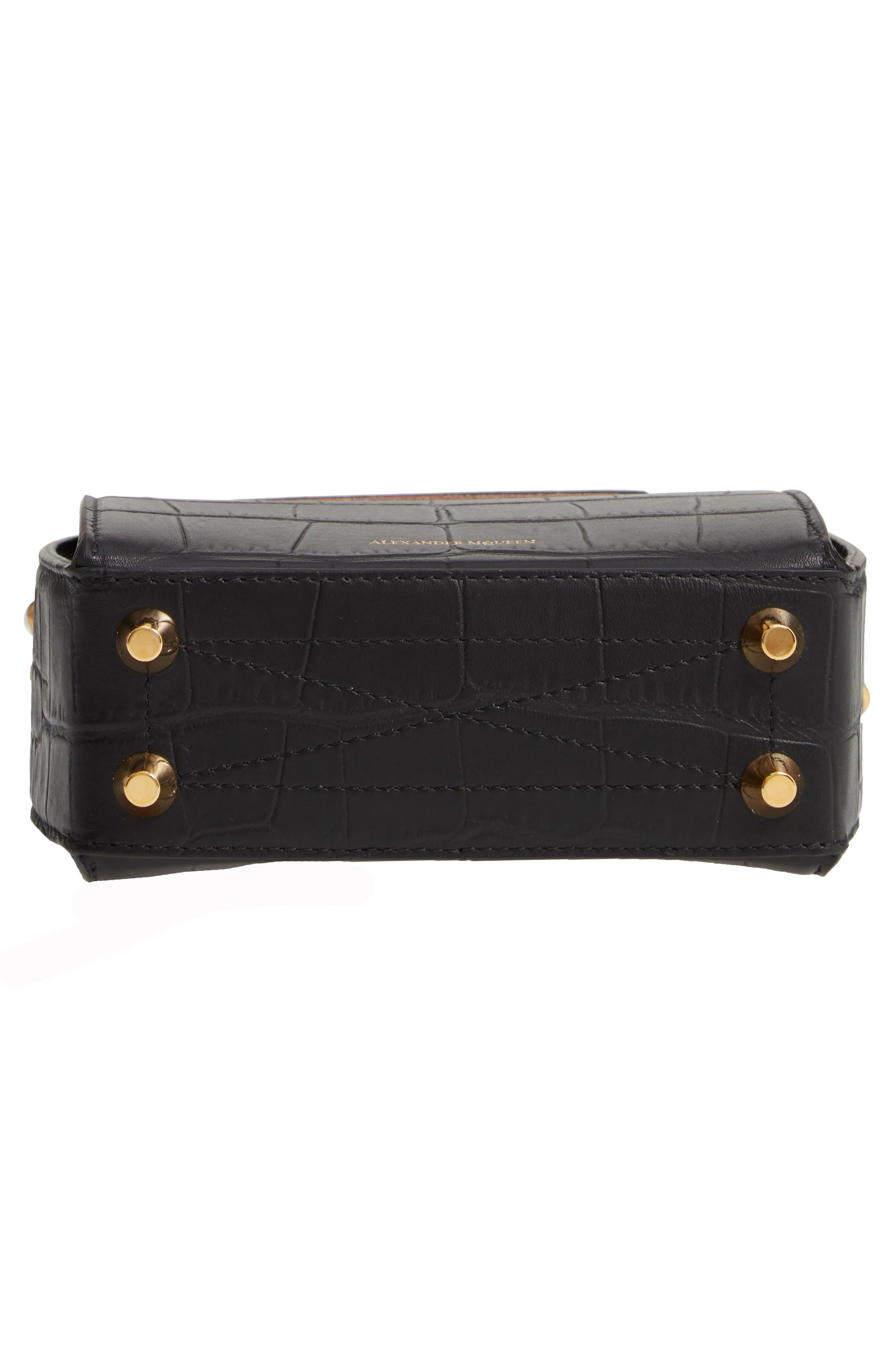 ALEXANDER MCQUEEN,                             Mini Box Croc-Embossed Leather Bag,                             Alternate thumbnail 7, color,                             001