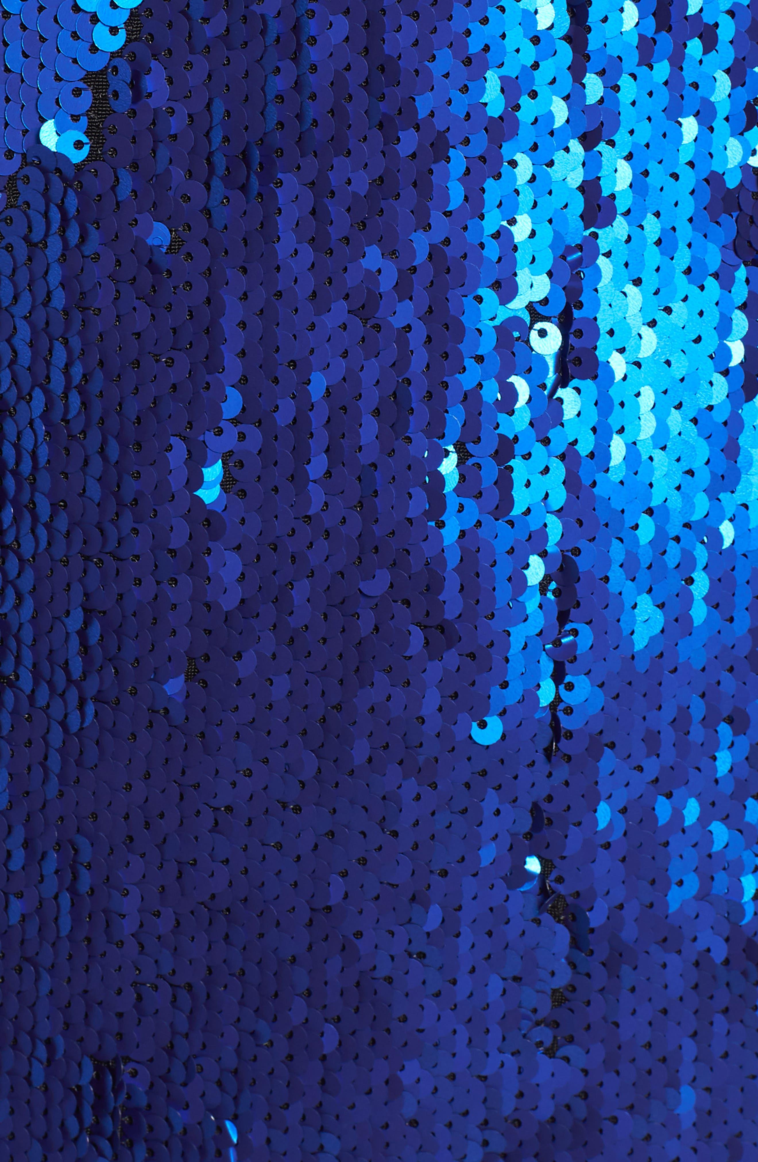 Zoe Sequin V-Neck Cocktail Sheath Dress,                             Alternate thumbnail 6, color,                             ELECTRIC BLUE