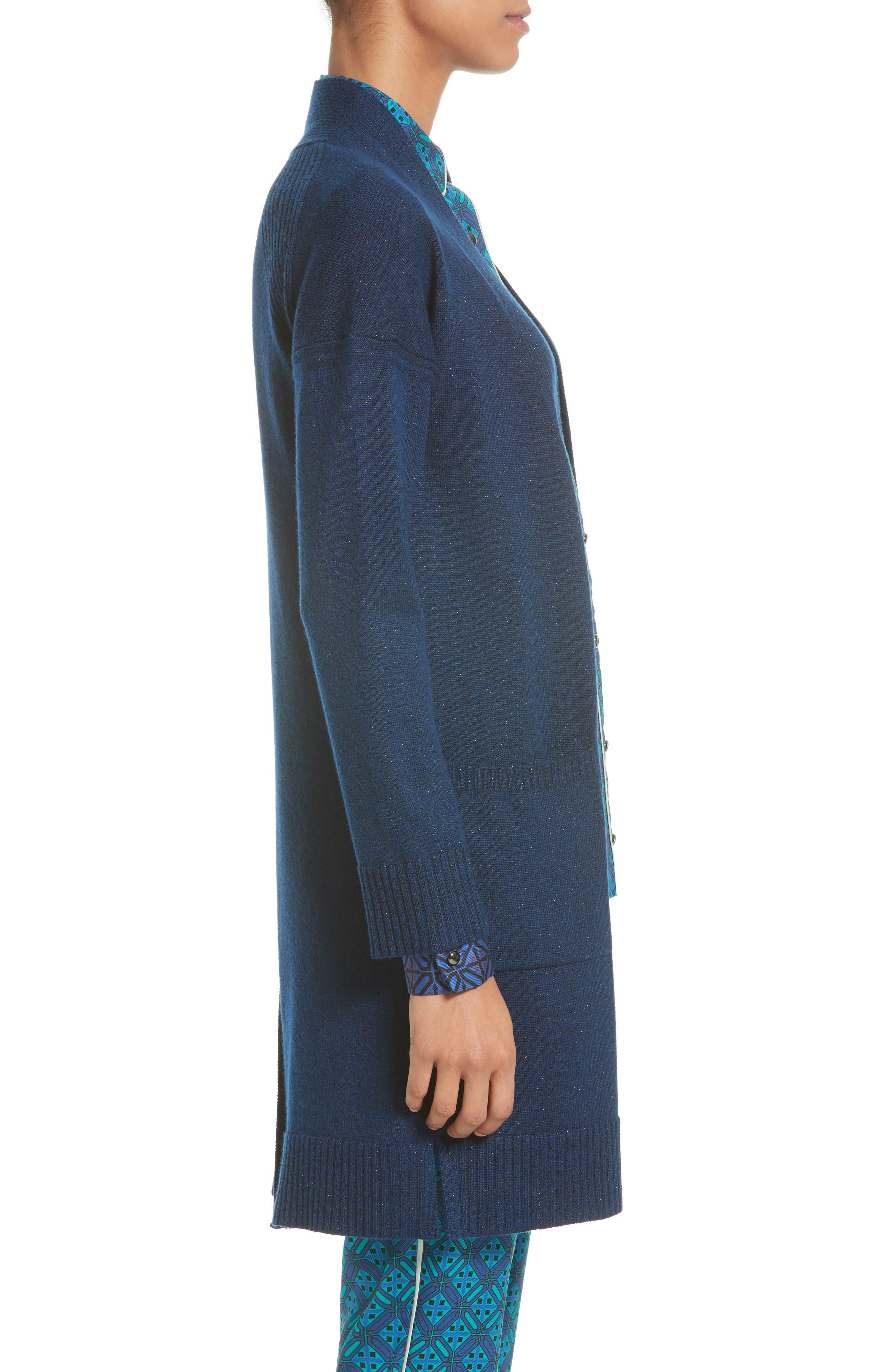 Jersey Cashmere Blend Sparkle Knit Jacket,                             Alternate thumbnail 3, color,                             410