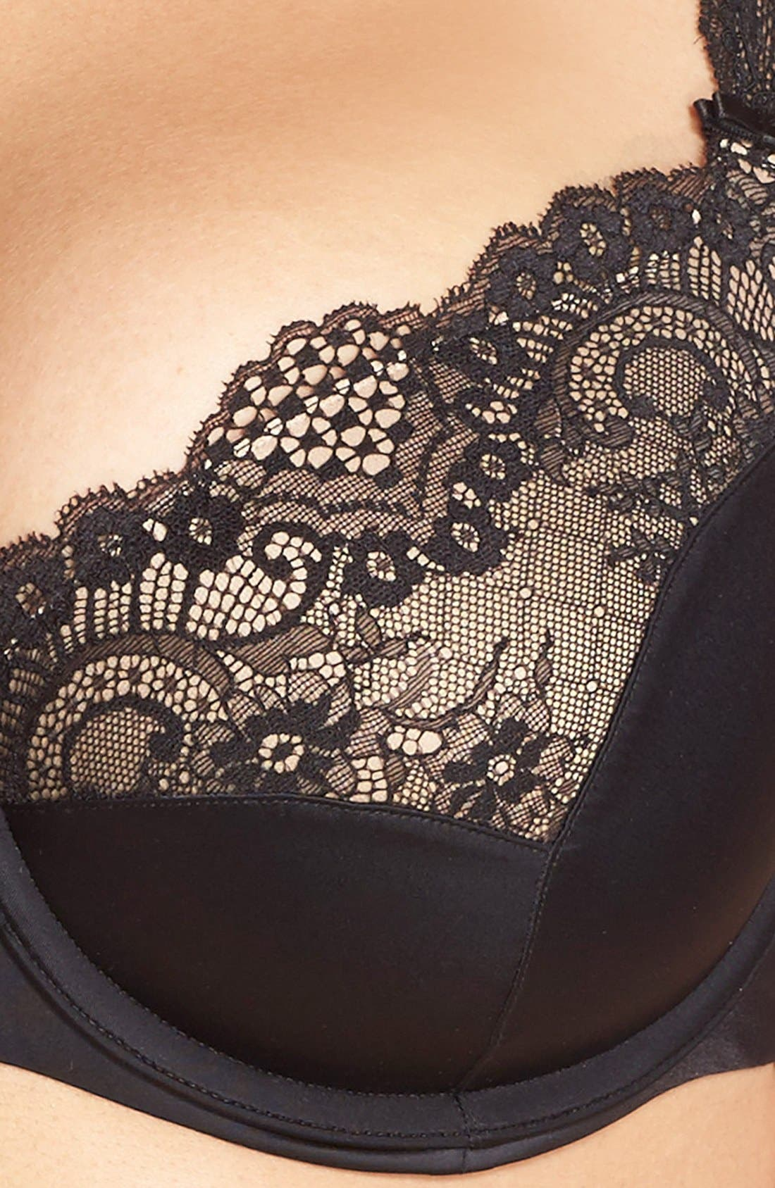 'Foxy' Lace Balconette Bra,                             Alternate thumbnail 4, color,                             BLACK
