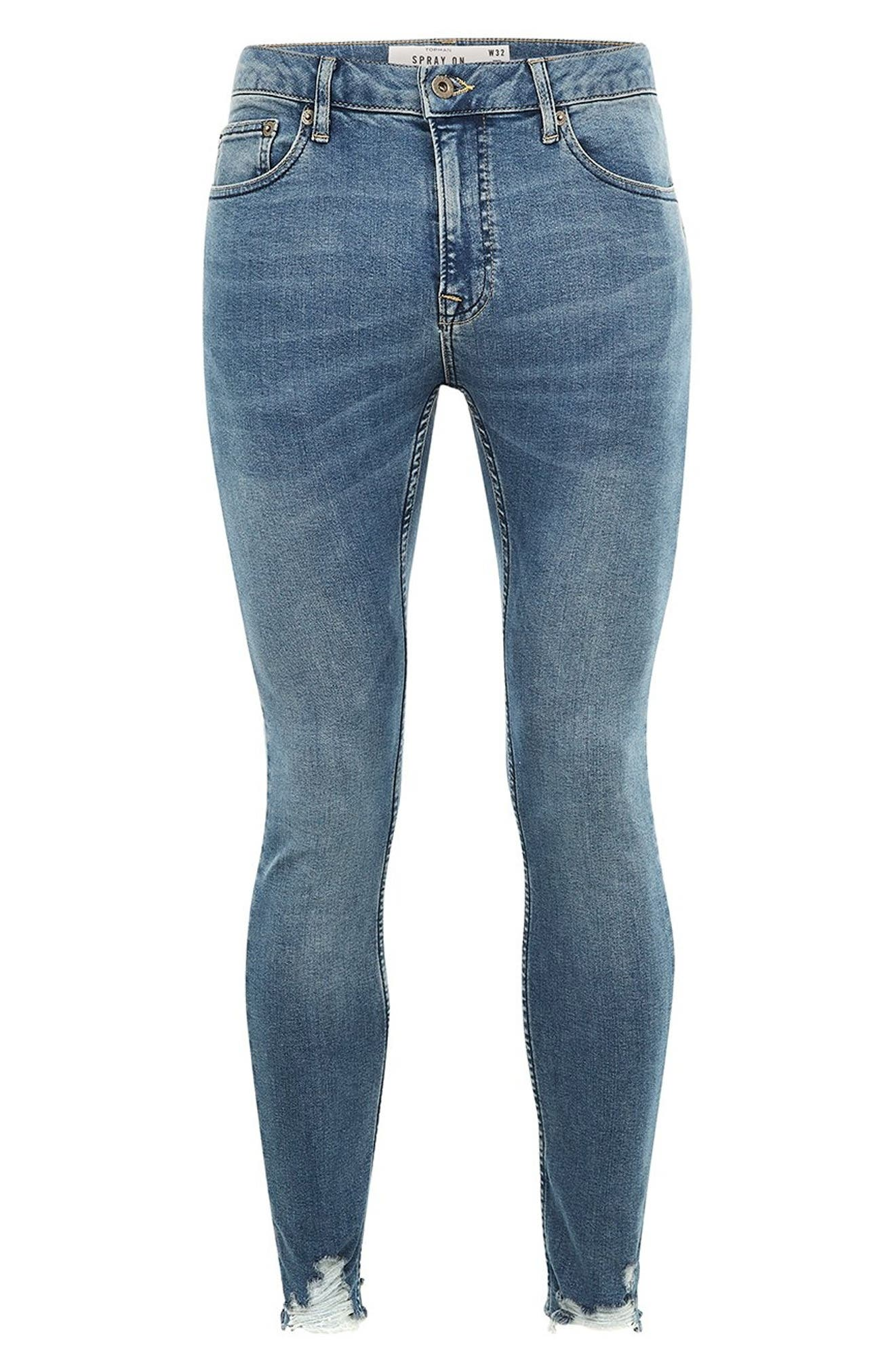Smokey Spray-On Jeans,                             Alternate thumbnail 4, color,                             BLUE