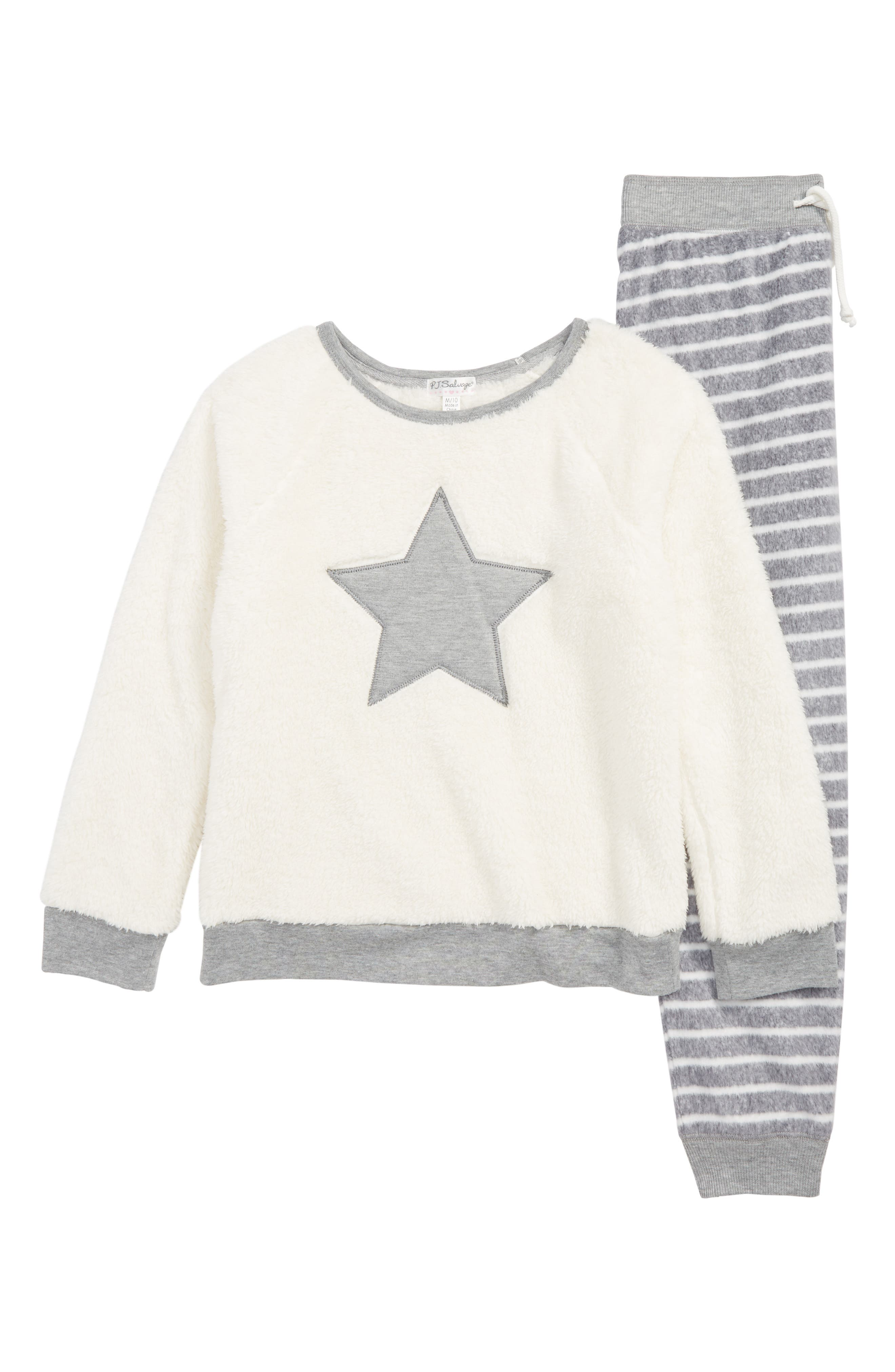 Starry Night Fitted Two-Piece Pajamas,                         Main,                         color, HEATHER GREY