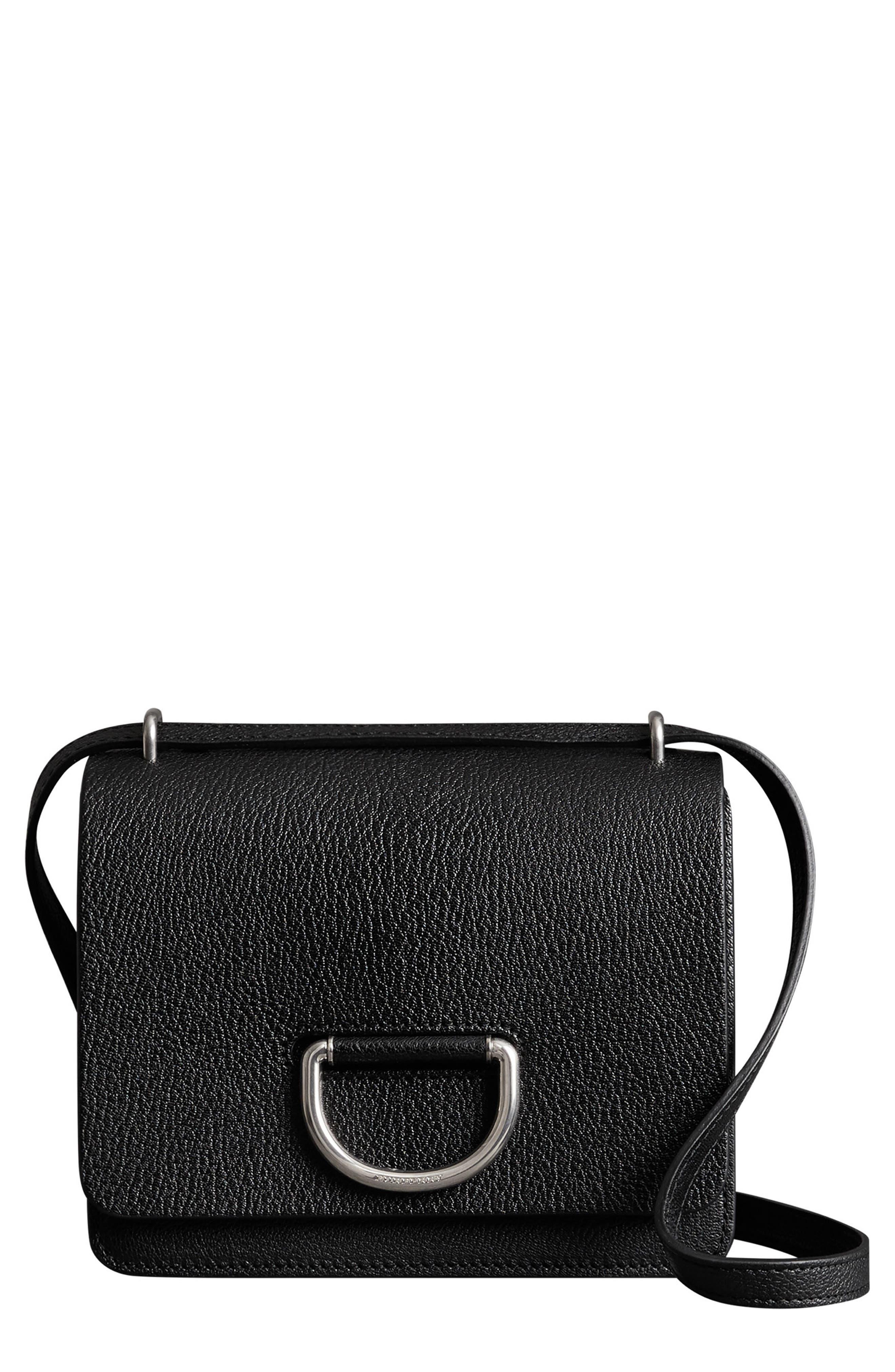 Small D-Ring Leather Crossbody Bag,                             Main thumbnail 1, color,                             BLACK