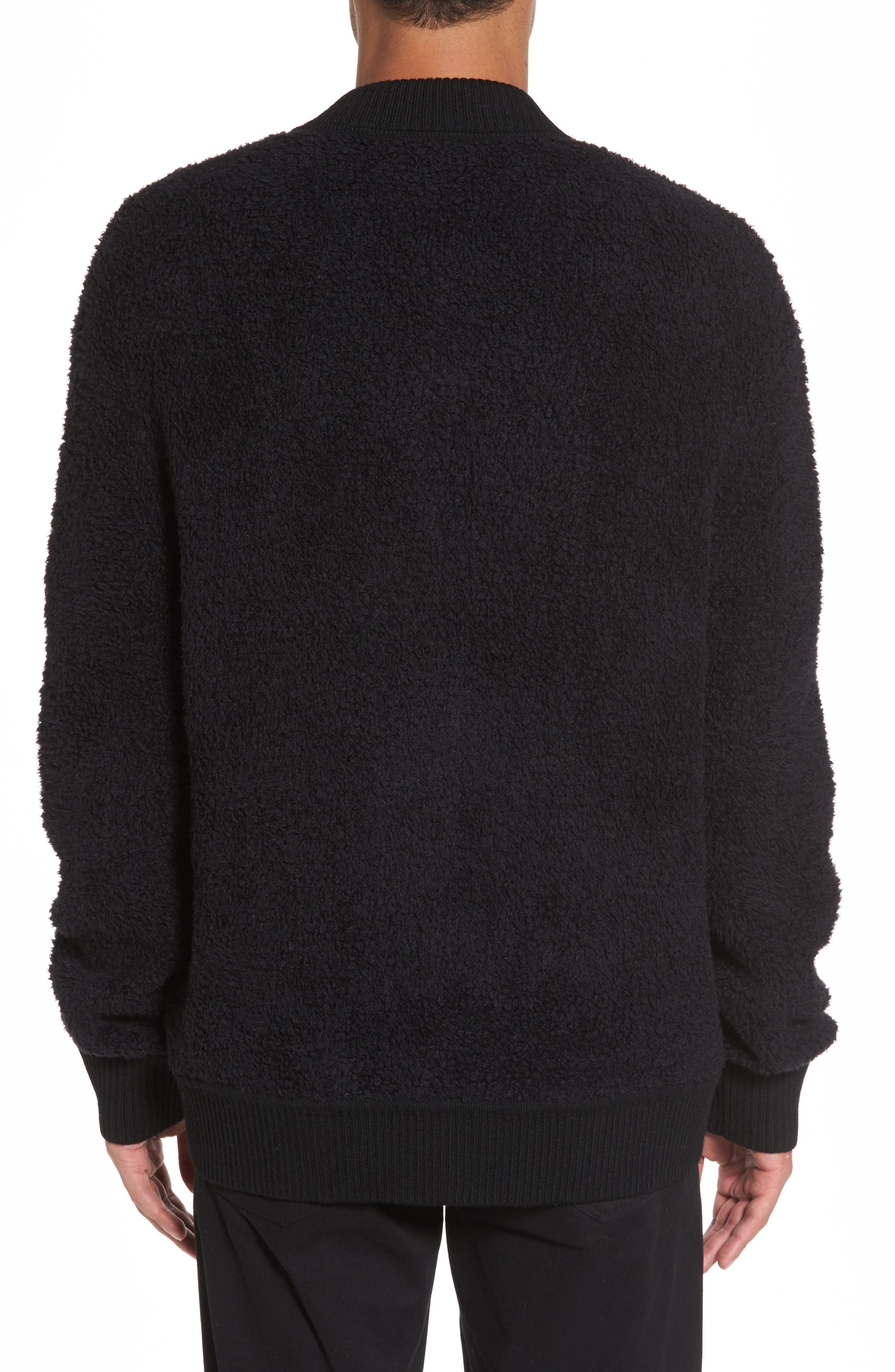 Fleece Wool Blend Bomber Jacket,                             Alternate thumbnail 2, color,                             001