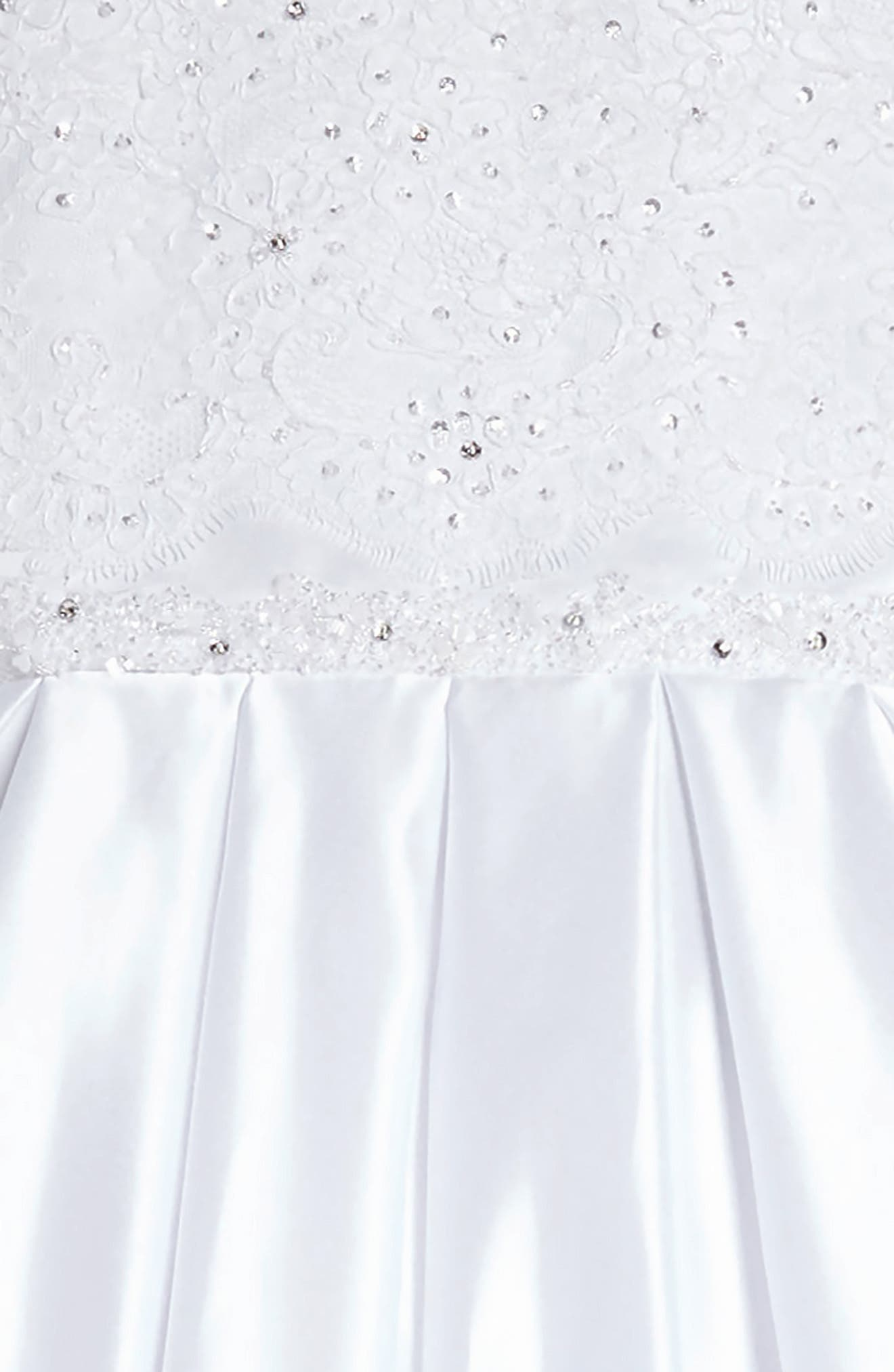 Beaded Lace & Satin First Communion Dress,                             Alternate thumbnail 5, color,