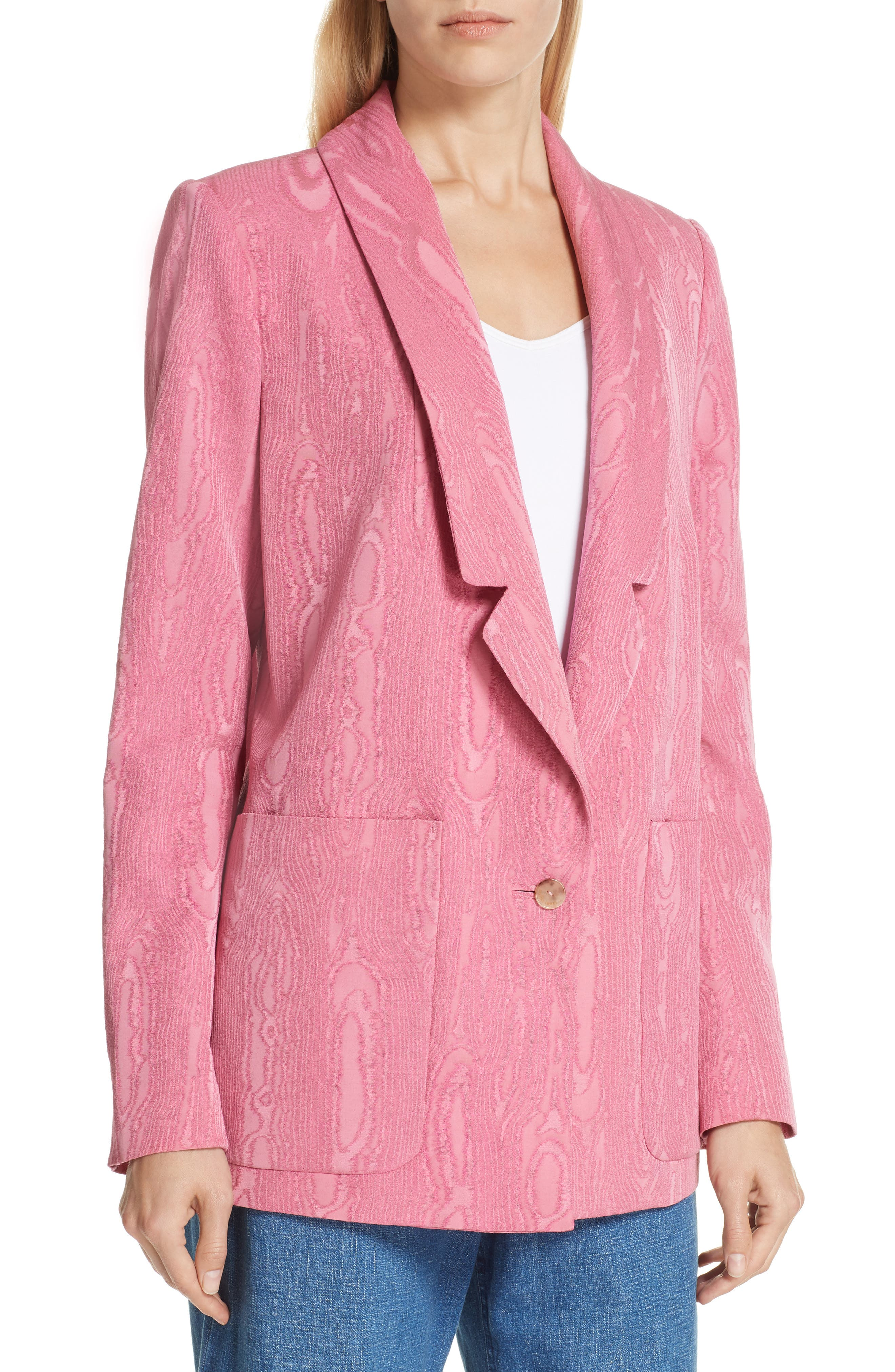 Lovely Wool Blend Moiré Blazer,                             Alternate thumbnail 4, color,                             PINK