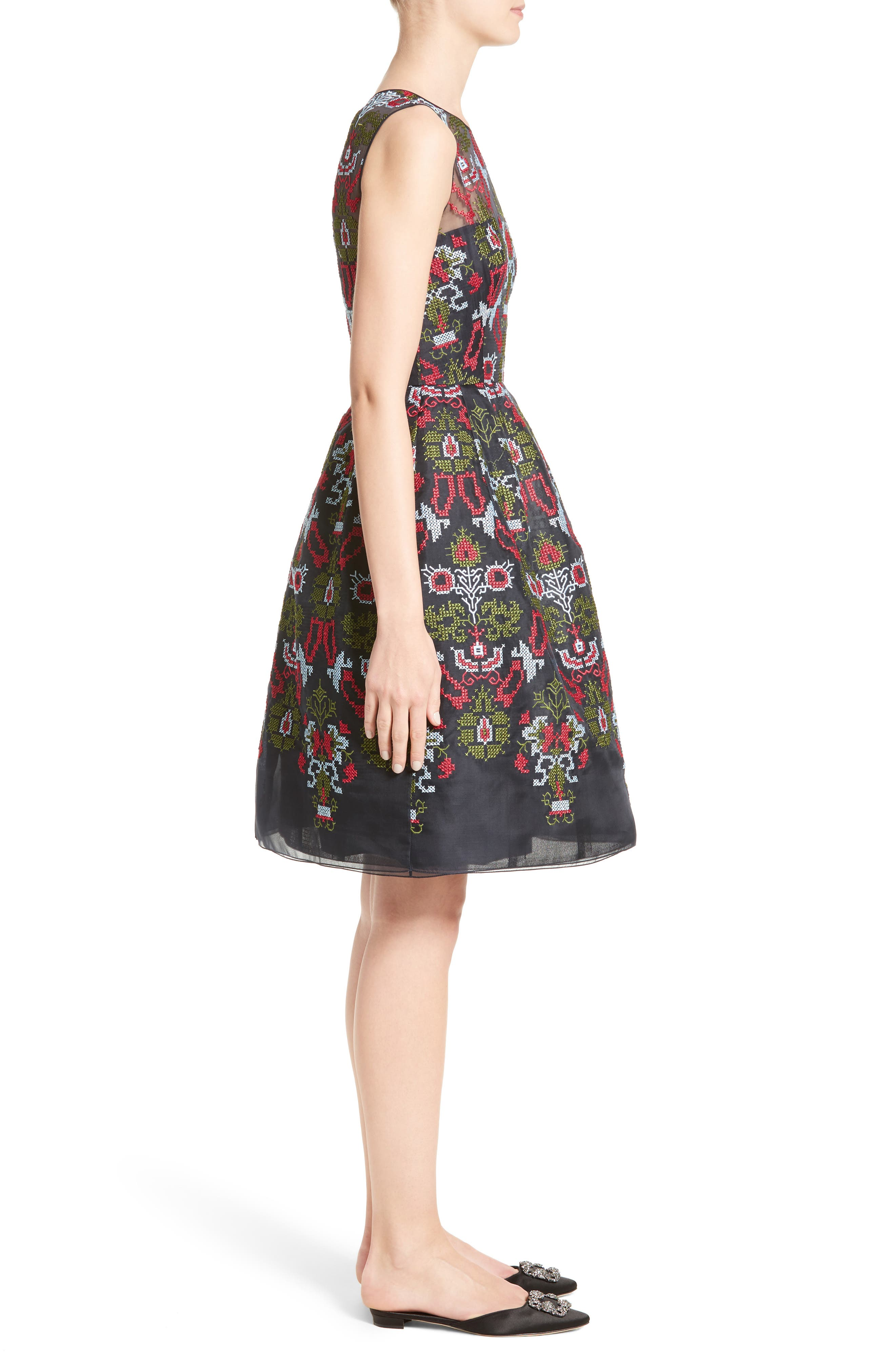 Needlepoint Fit & Flare Dress,                             Alternate thumbnail 3, color,                             465