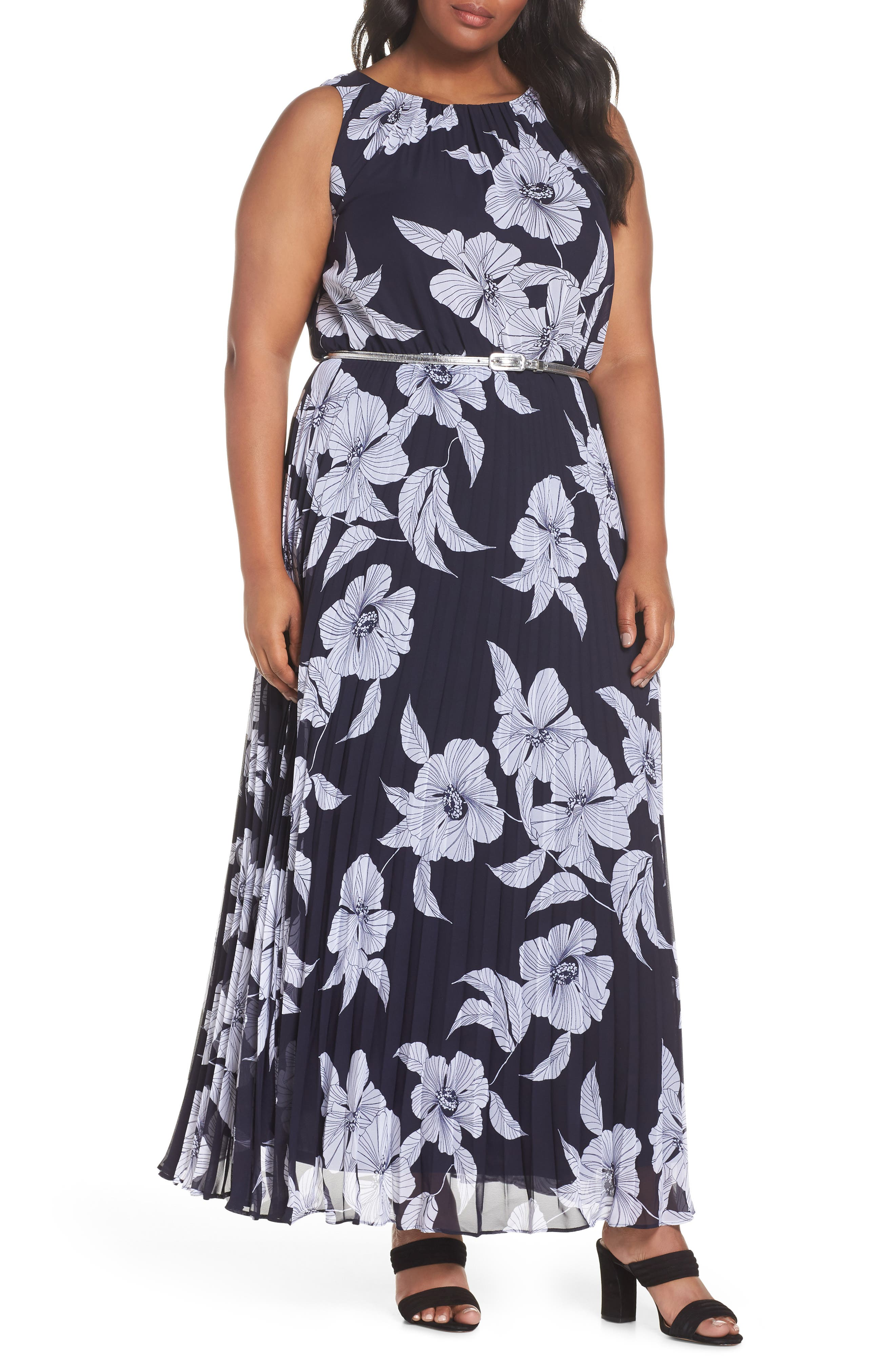 Floral Belted Pleated Maxi Dress,                             Main thumbnail 1, color,                             400