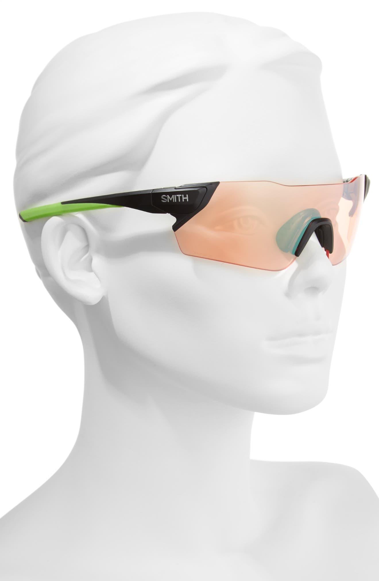 Attack 125mm ChromaPop<sup>™</sup> Polarized Shield Sunglasses,                             Alternate thumbnail 2, color,                             MATTE BLACK REACTOR/ GREEN