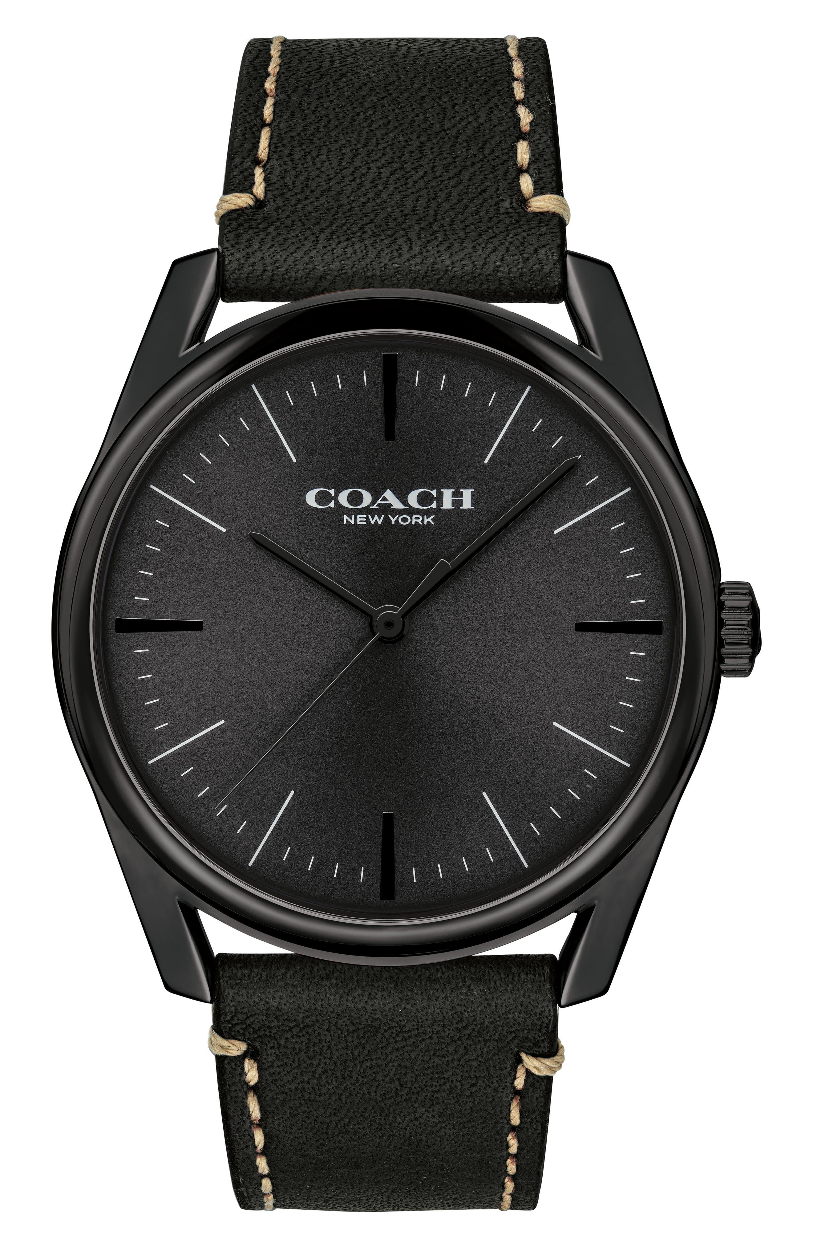 Preston Leather Strap Watch, 41mm,                             Main thumbnail 1, color,                             BLACK