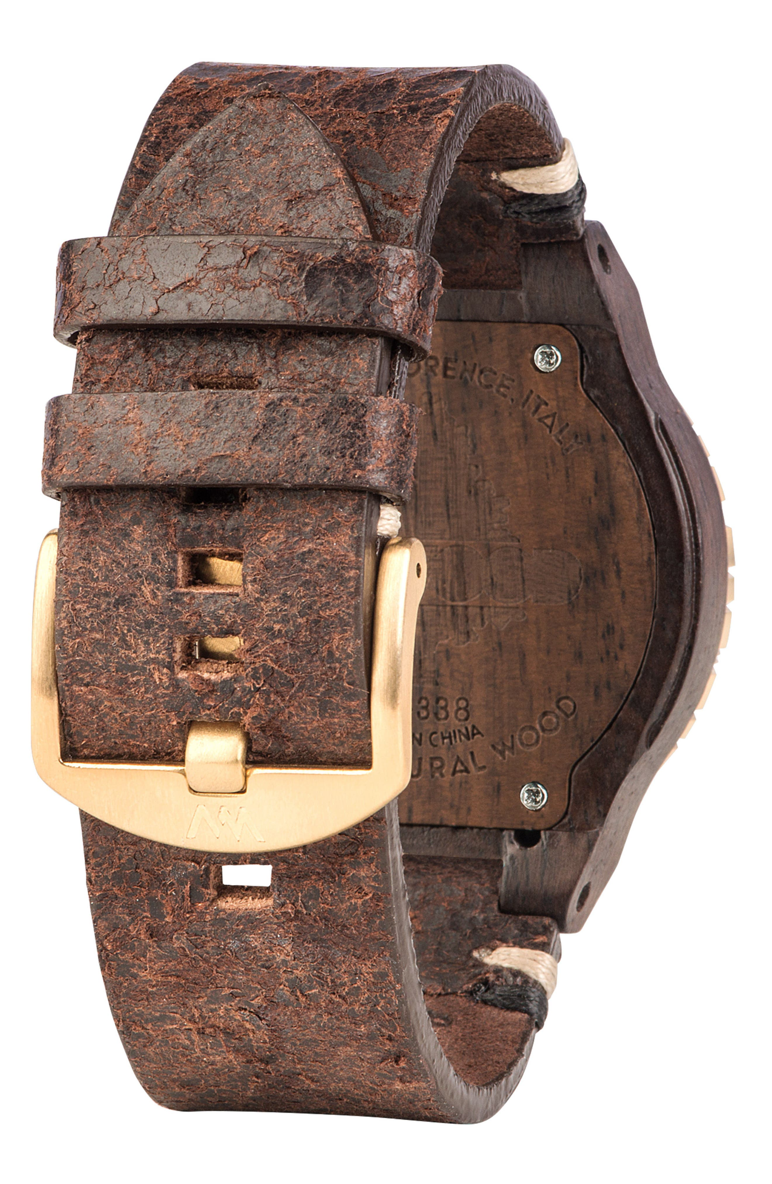 Kardo Multifunctional Wood Leather Strap Watch, 46mm,                             Alternate thumbnail 2, color,                             200