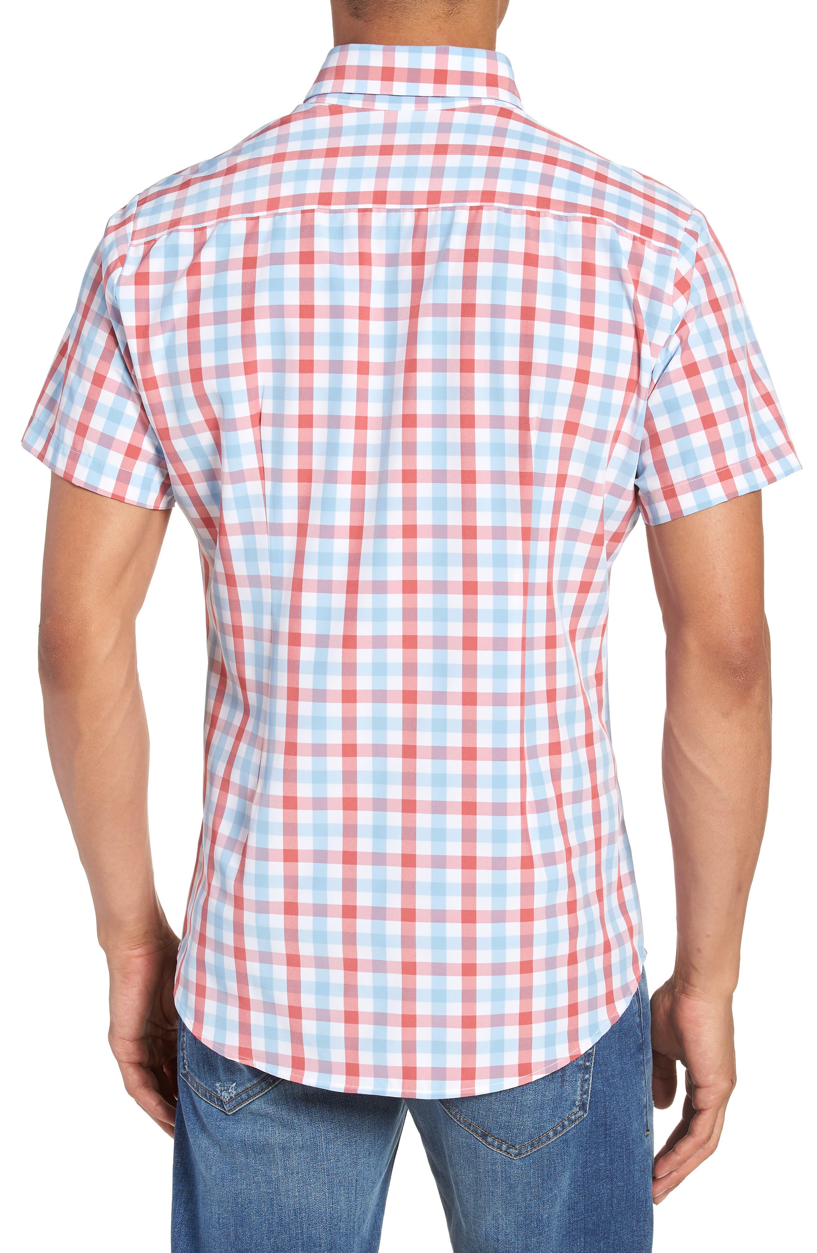 MIZZEN+MAIN,                             Revere Slim Fit Tattersall Performance Sport Shirt,                             Alternate thumbnail 2, color,                             649