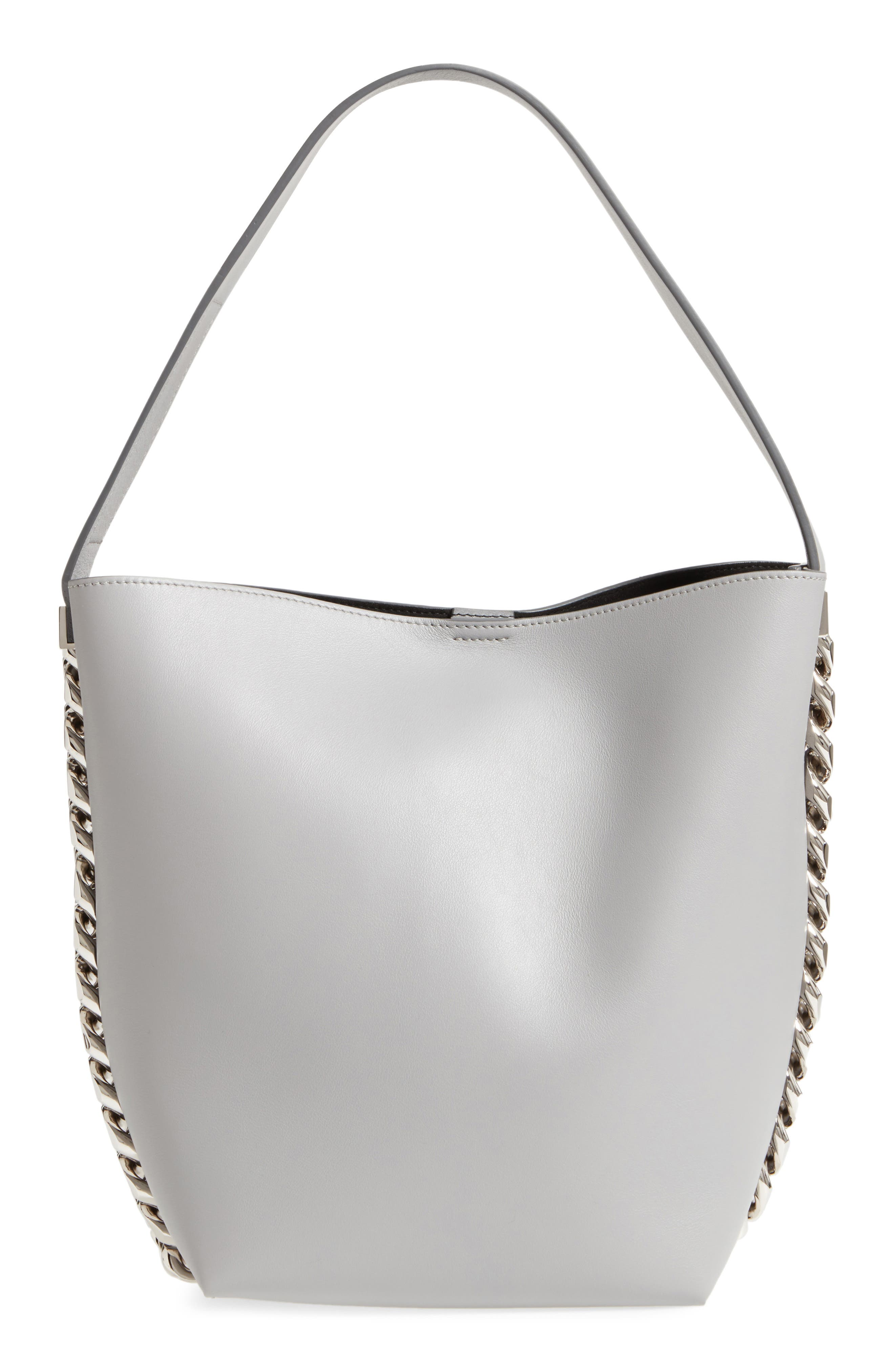 Infinity Calfskin Leather Bucket Bag,                             Main thumbnail 1, color,                             051