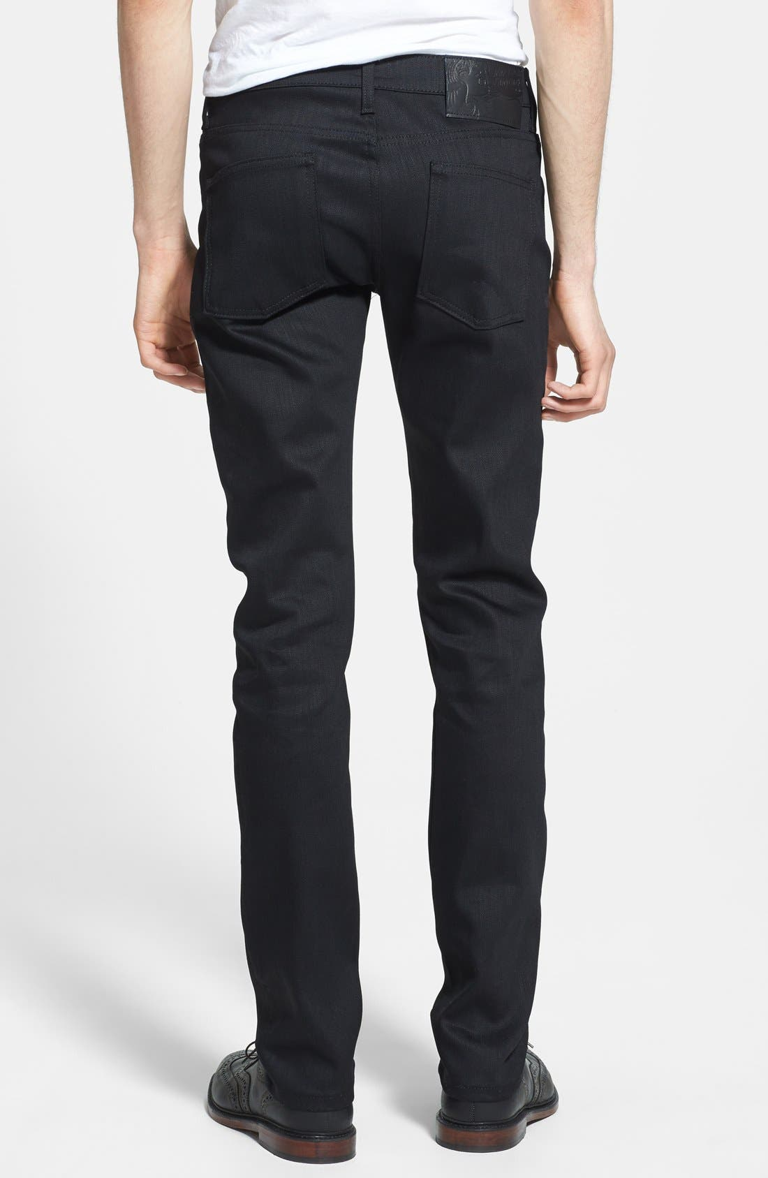 'Super Skinny Guy' Skinny Fit Raw Jeans,                             Alternate thumbnail 4, color,                             BLACK POWER STRETCH