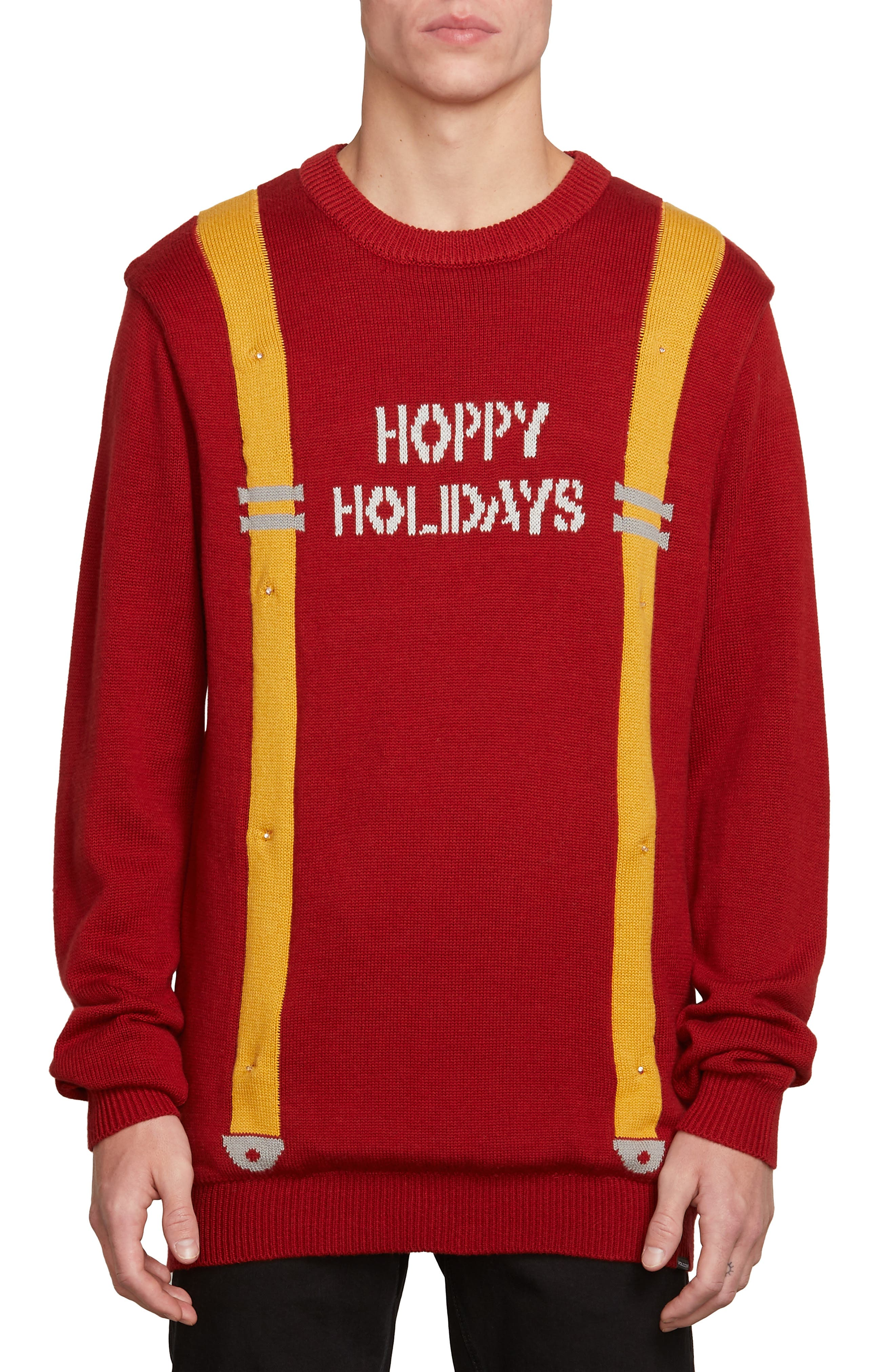 Holiday Suspenders Sweater,                         Main,                         color, RED DRIP