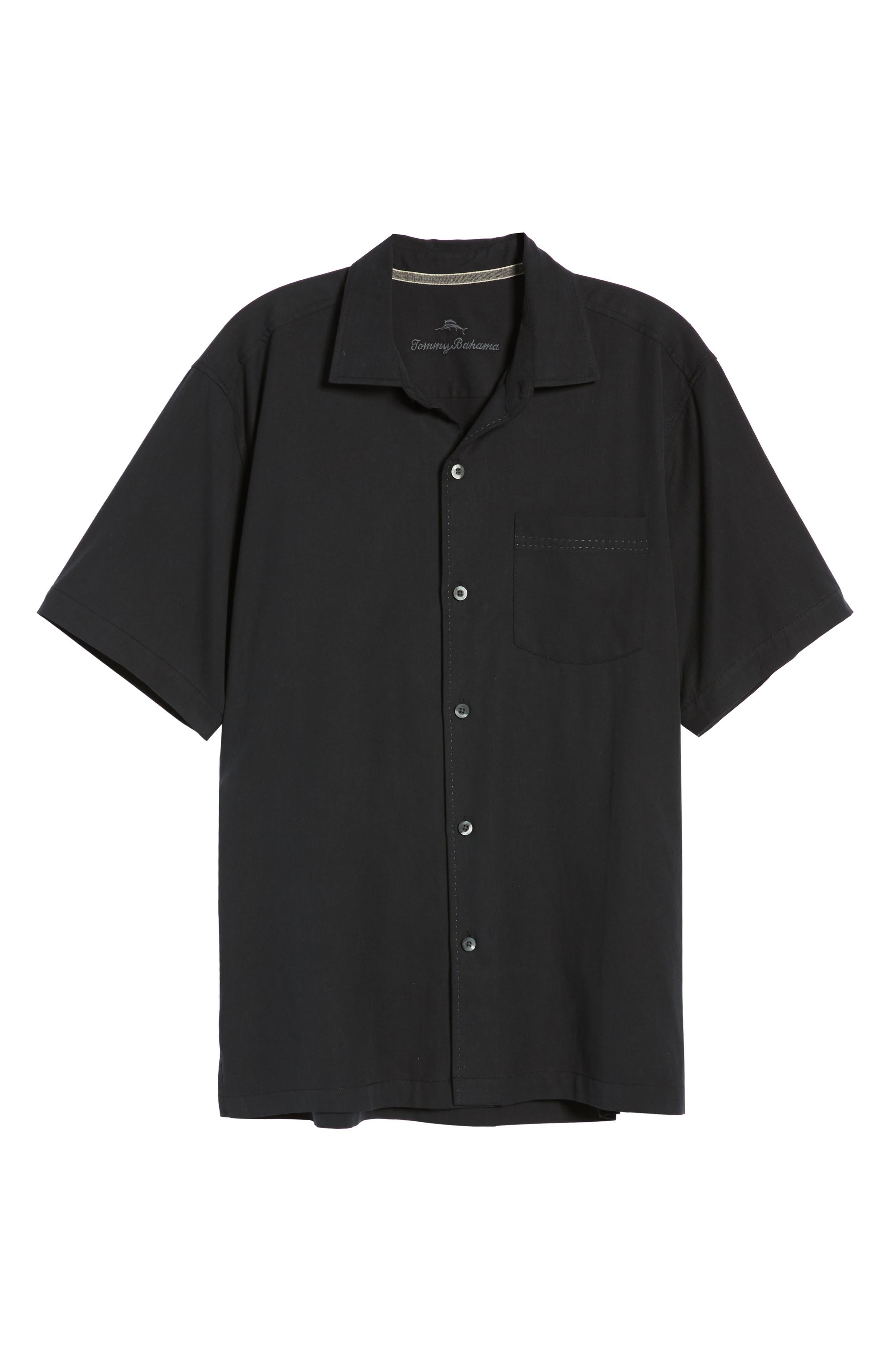 Catalina Stretch Silk Blend Camp Shirt,                             Alternate thumbnail 5, color,                             BLACK