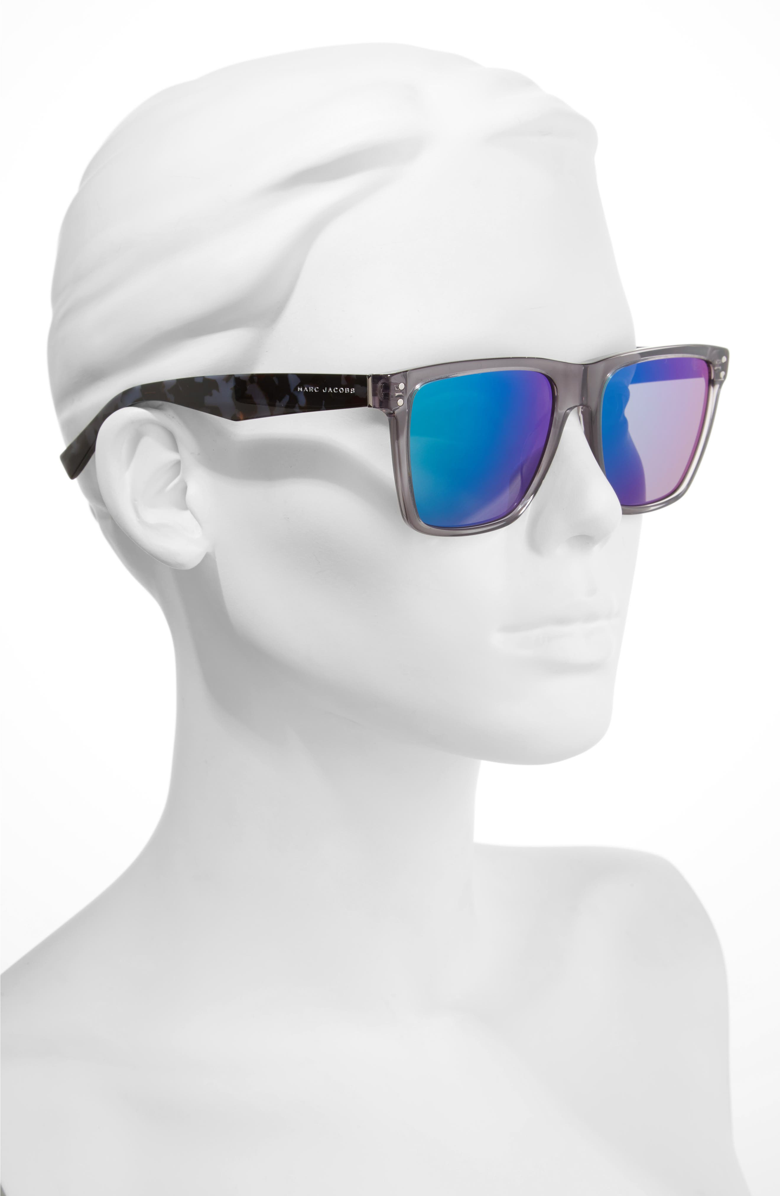 54mm Flat Top Gradient Square Frame Sunglasses,                             Alternate thumbnail 2, color,                             GREY HAVANA