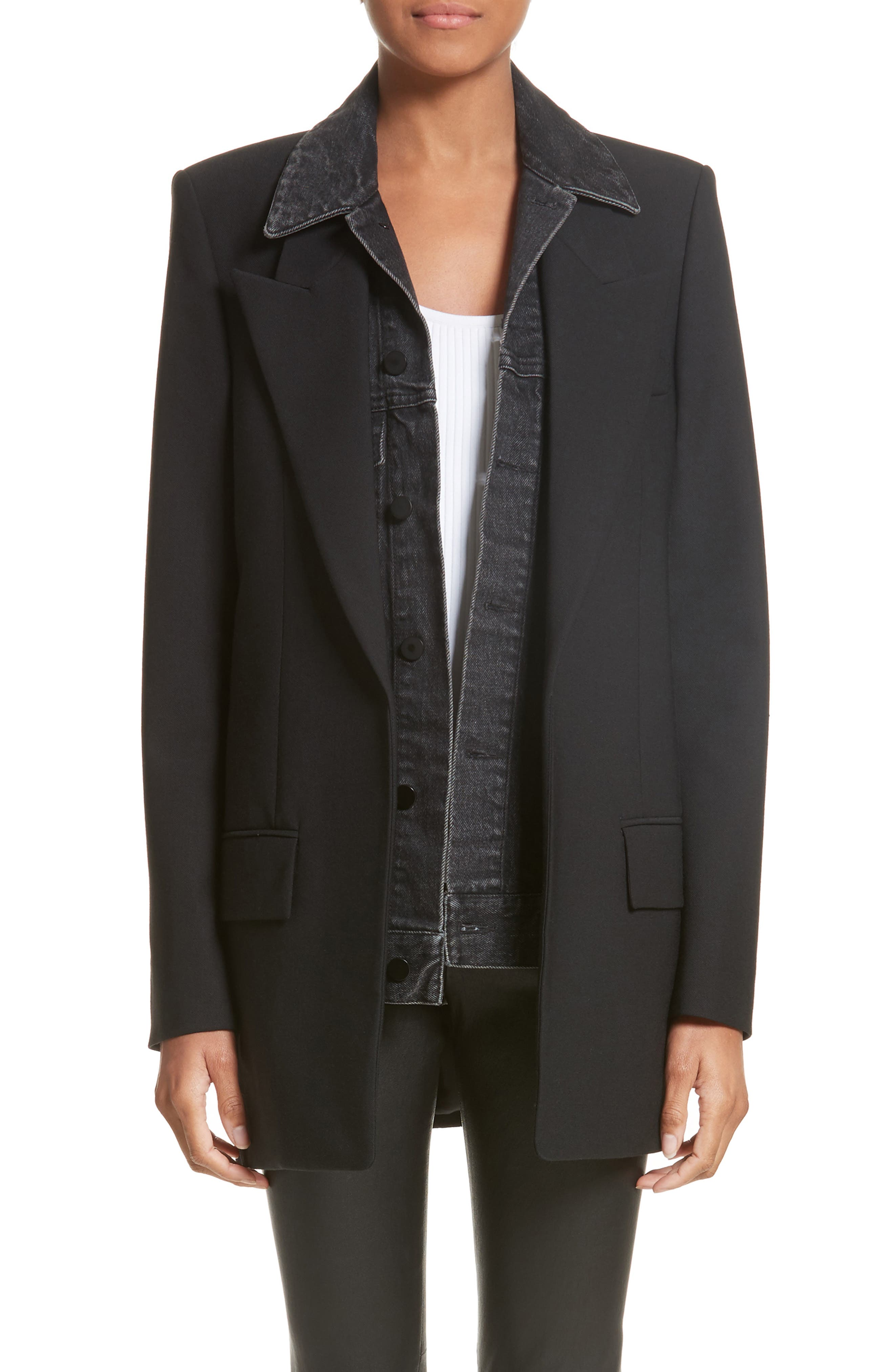 Denim & Wool Blend Layered Jacket,                             Main thumbnail 1, color,                             001