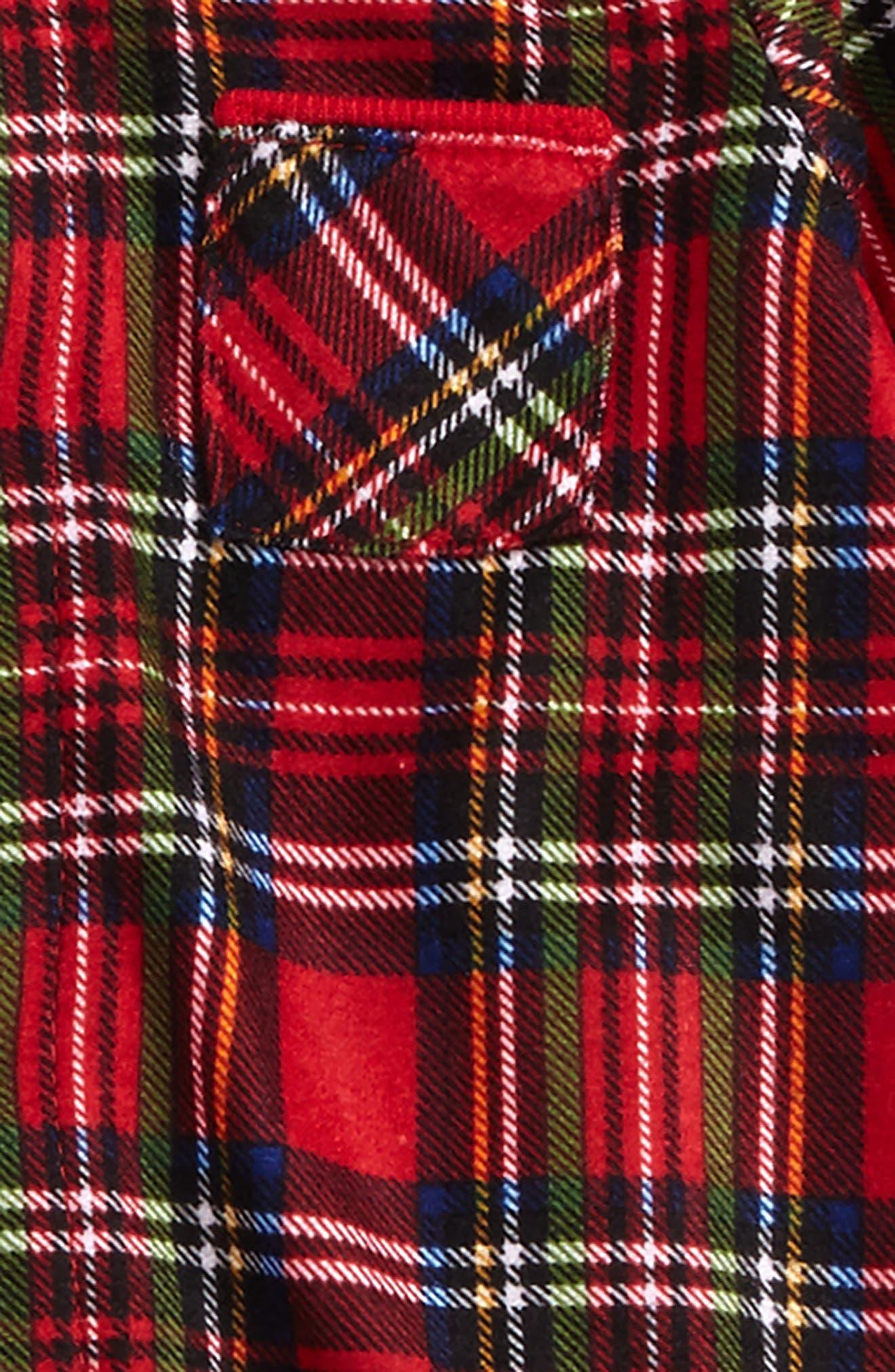 Plaid Footie Pajamas & Hat Set,                             Alternate thumbnail 2, color,