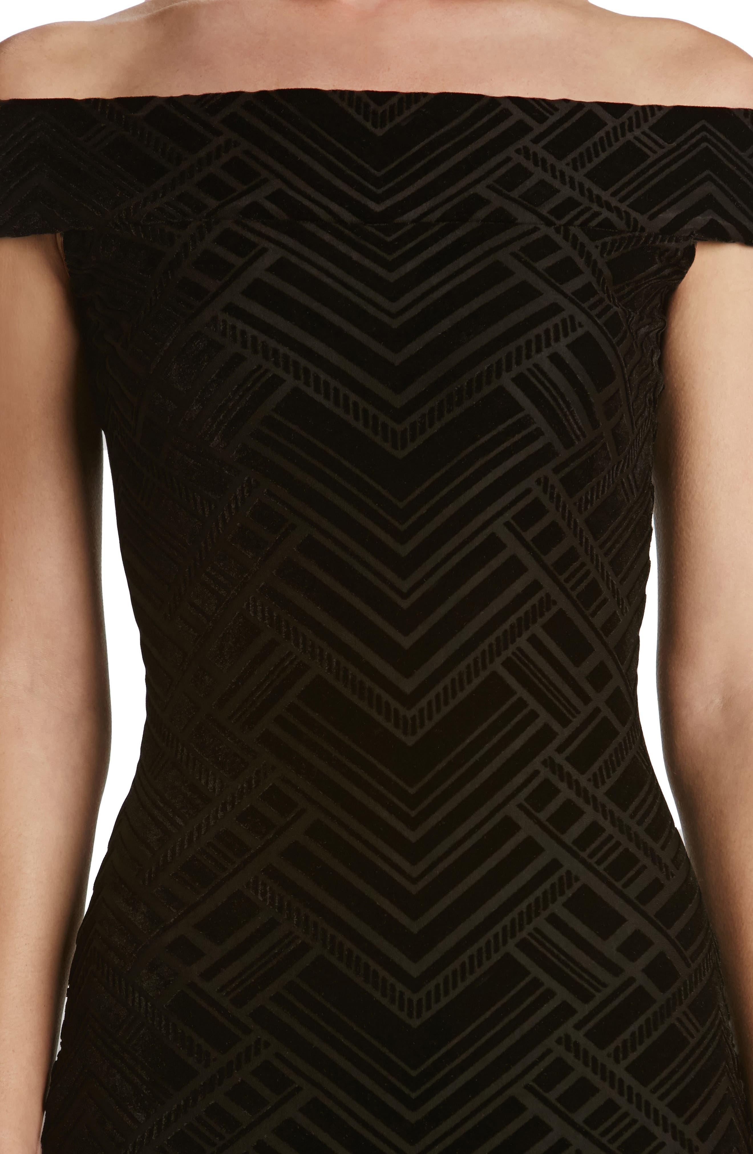 Eden Geo Print Velvet Off the Shoulder Dress,                             Alternate thumbnail 4, color,                             004