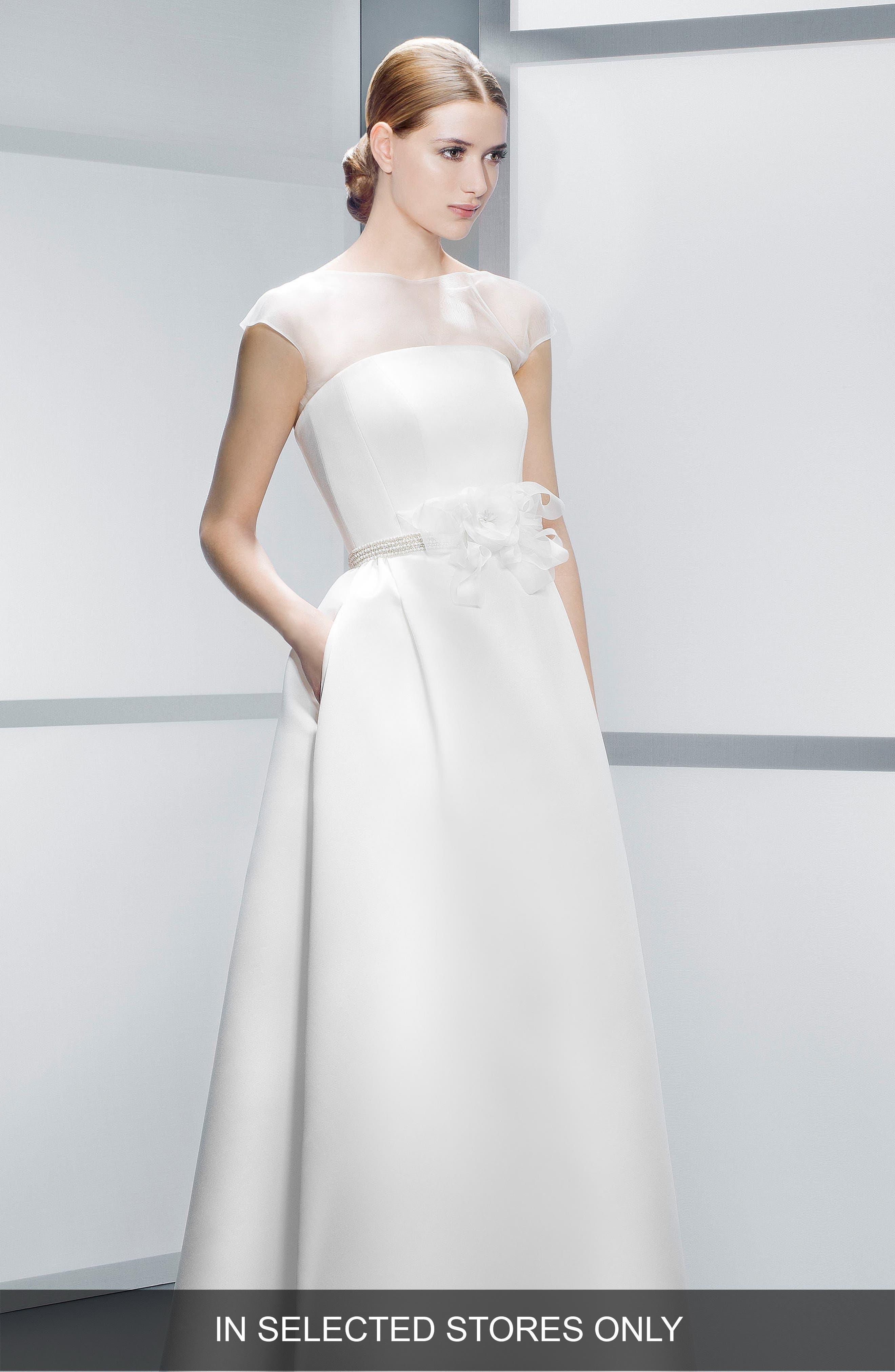 Illusion Overlay Bodice Embellished Waist Satin Dress,                         Main,                         color, IVORY