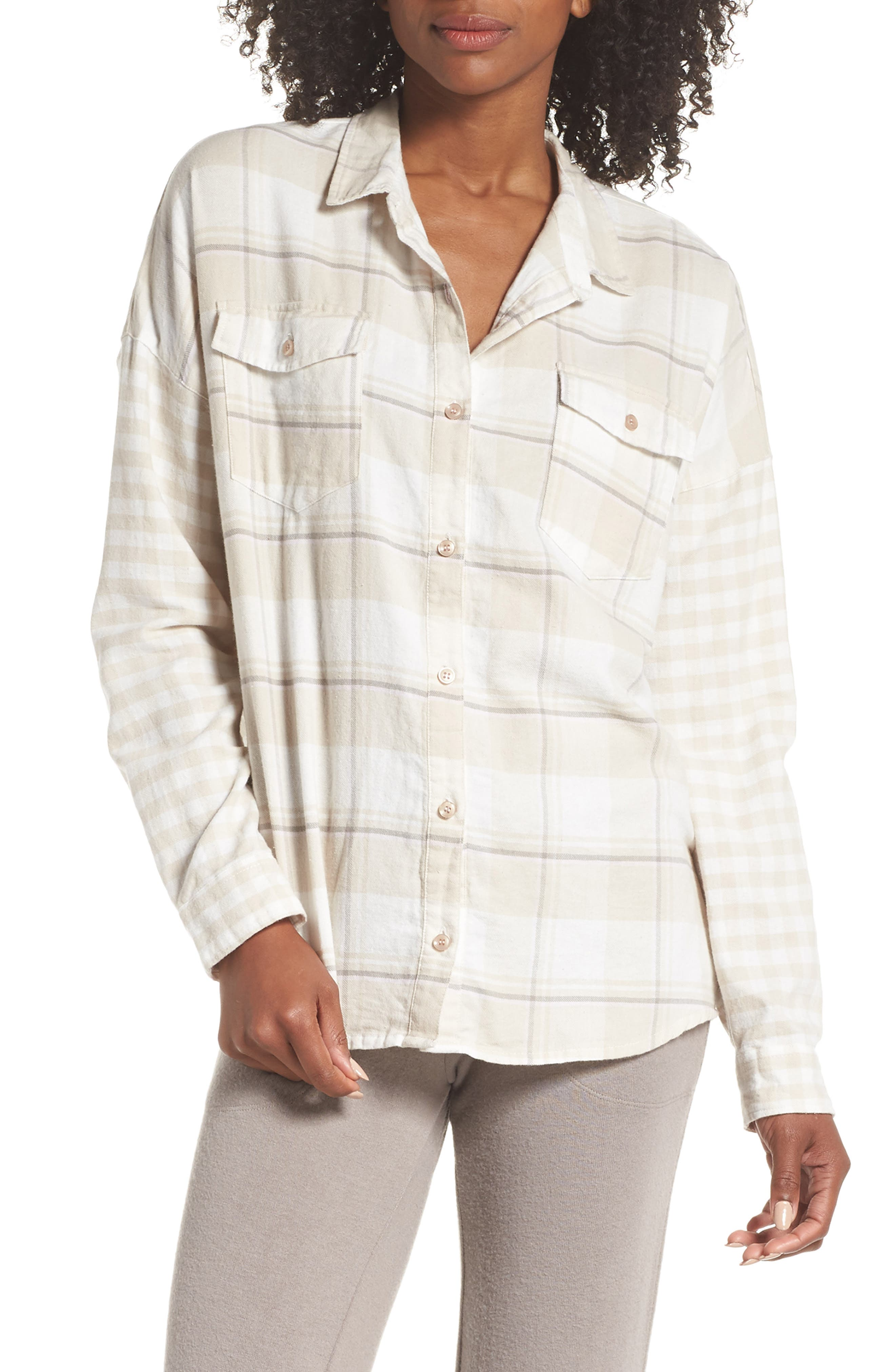 Plaid Shirt,                             Main thumbnail 1, color,                             CHAMPAGNE