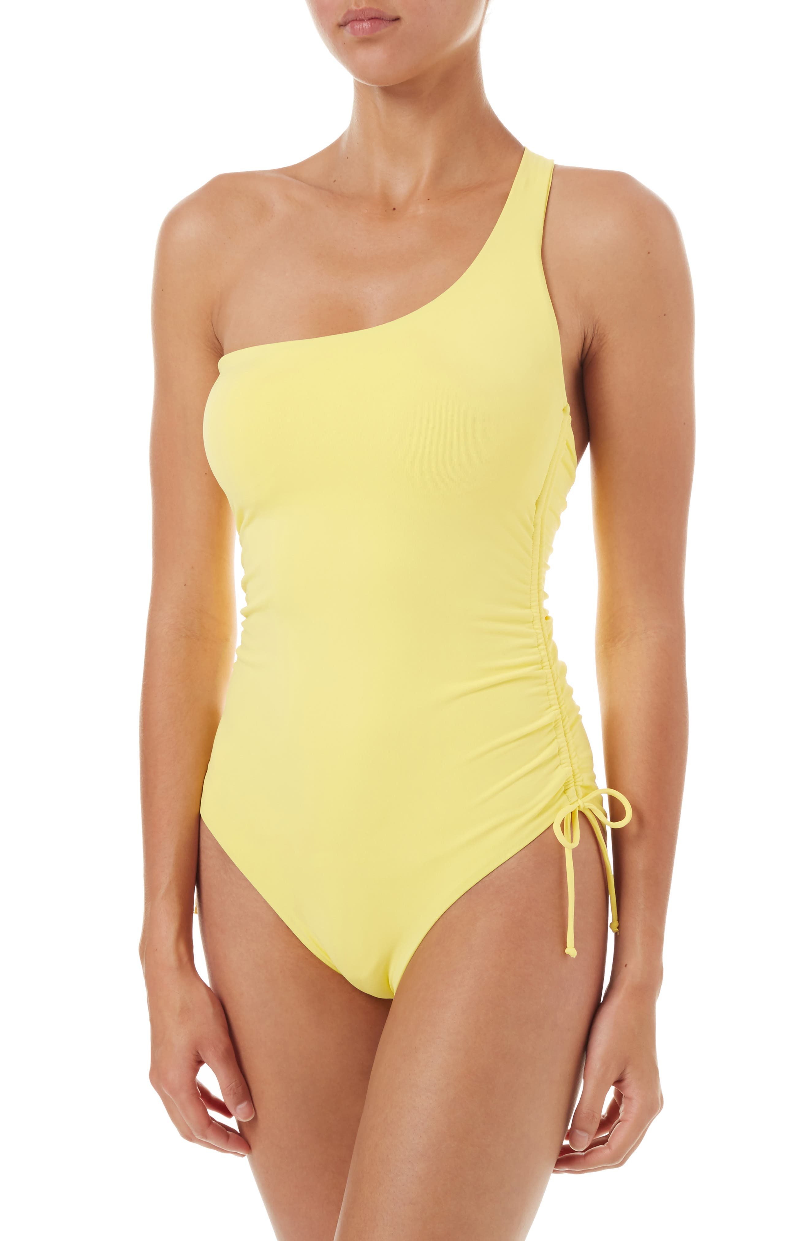 Polynesia One-Strap One-Piece Swimsuit,                             Main thumbnail 1, color,                             YELLOW