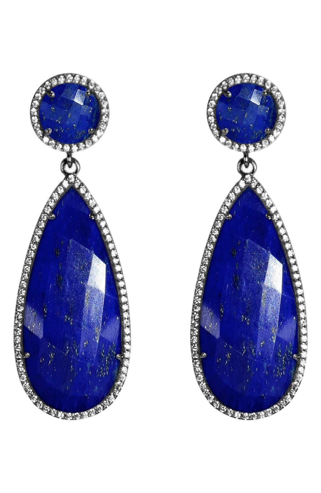 Semiprecious Stone Double Drop Earrings,                             Main thumbnail 3, color,