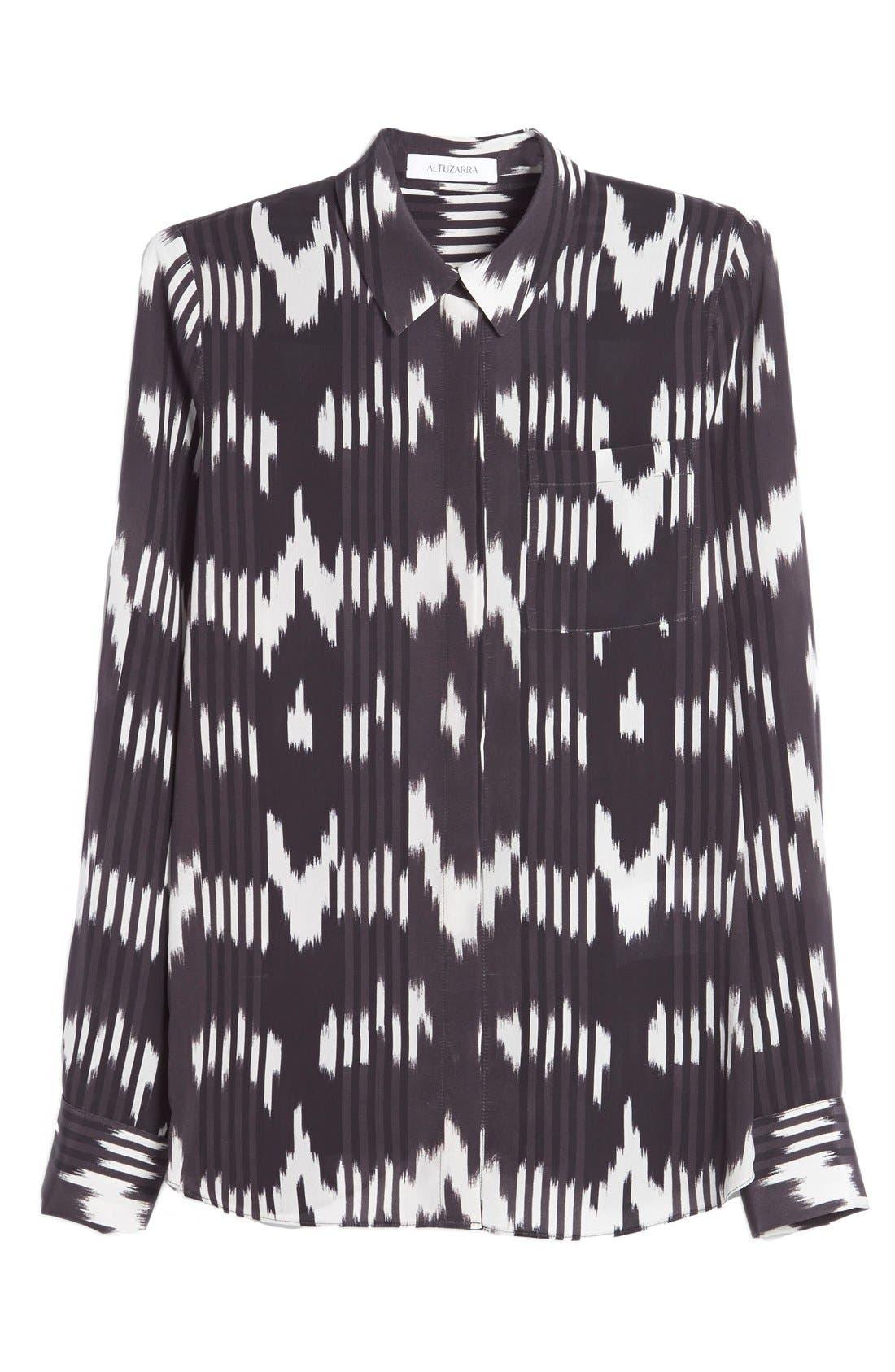 'Chika' Ikat Print Silk Blouse,                             Alternate thumbnail 5, color,                             002