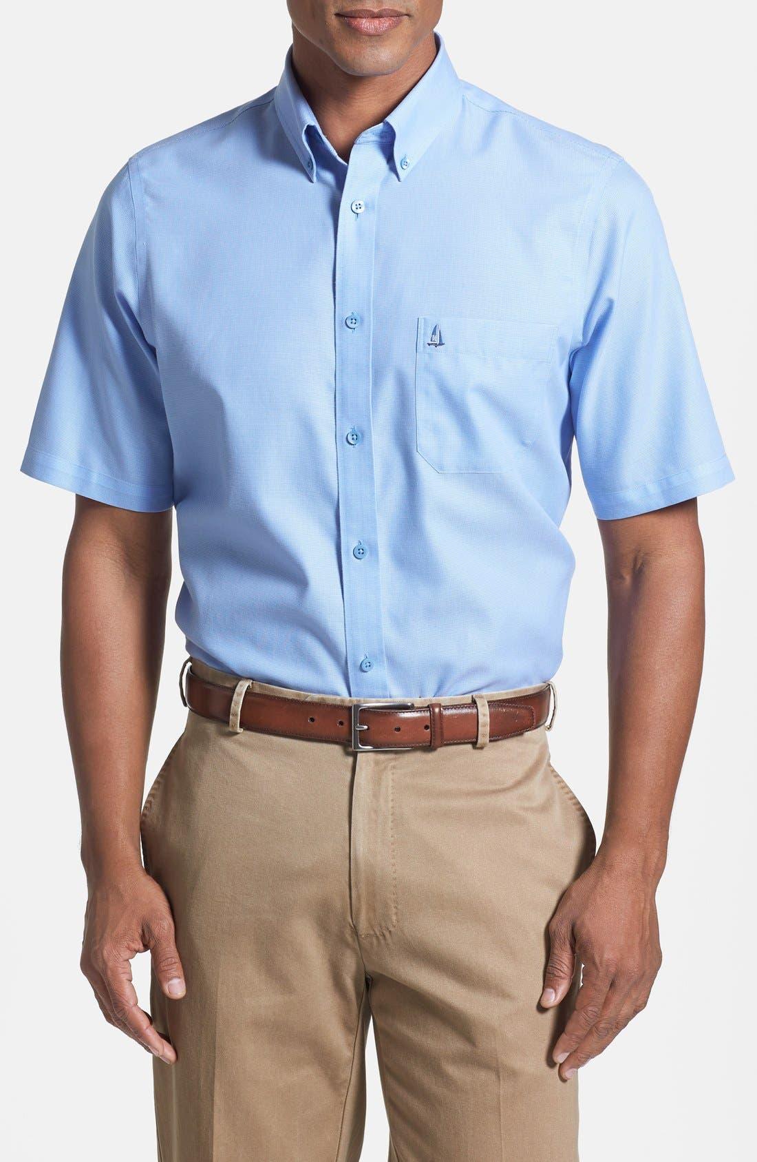 'Classic' Smartcare<sup>™</sup> Regular Fit Short Sleeve Cotton Sport Shirt,                             Main thumbnail 20, color,