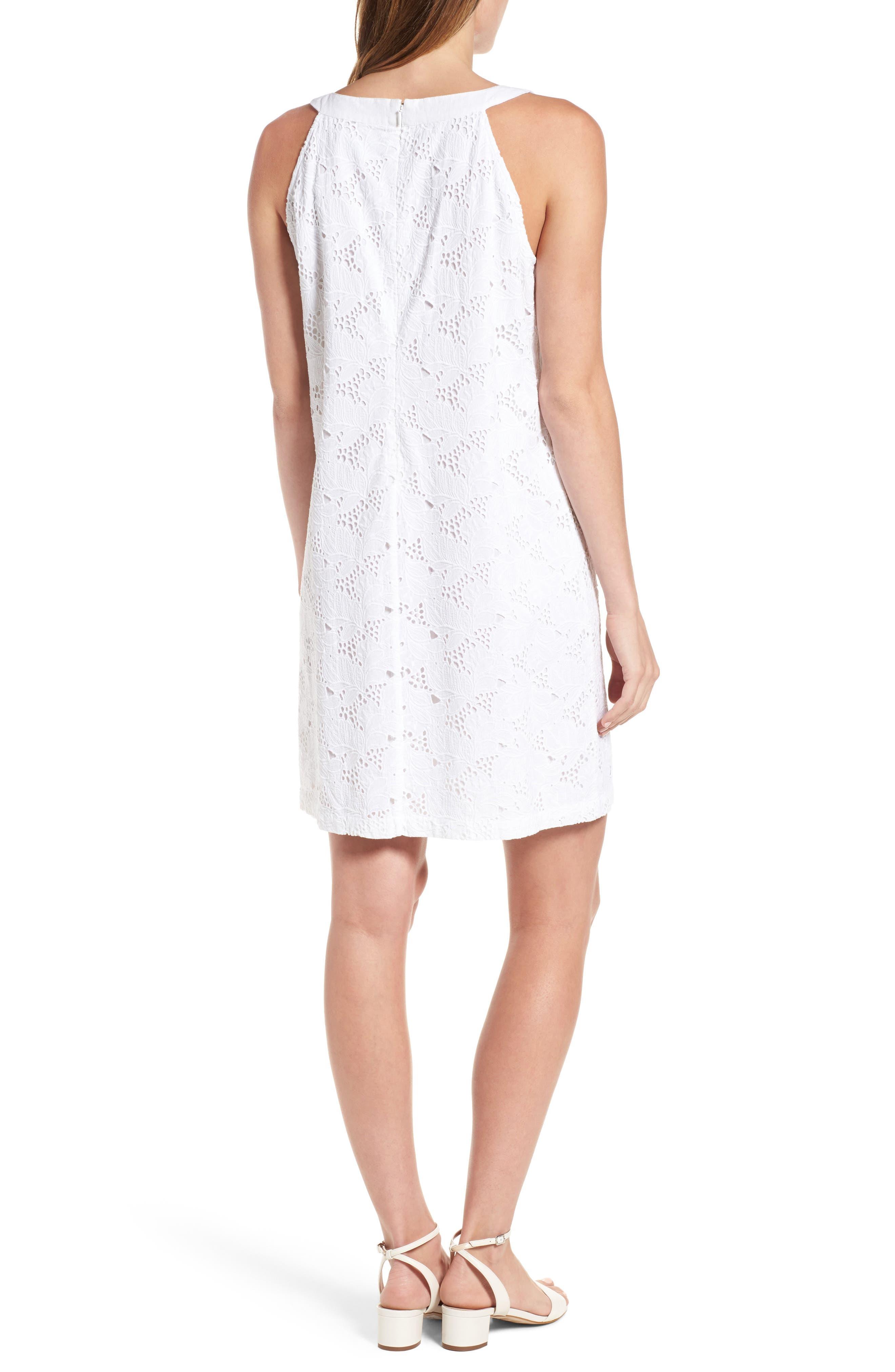 Eyelet Cotton Shift Dress,                             Alternate thumbnail 2, color,                             100