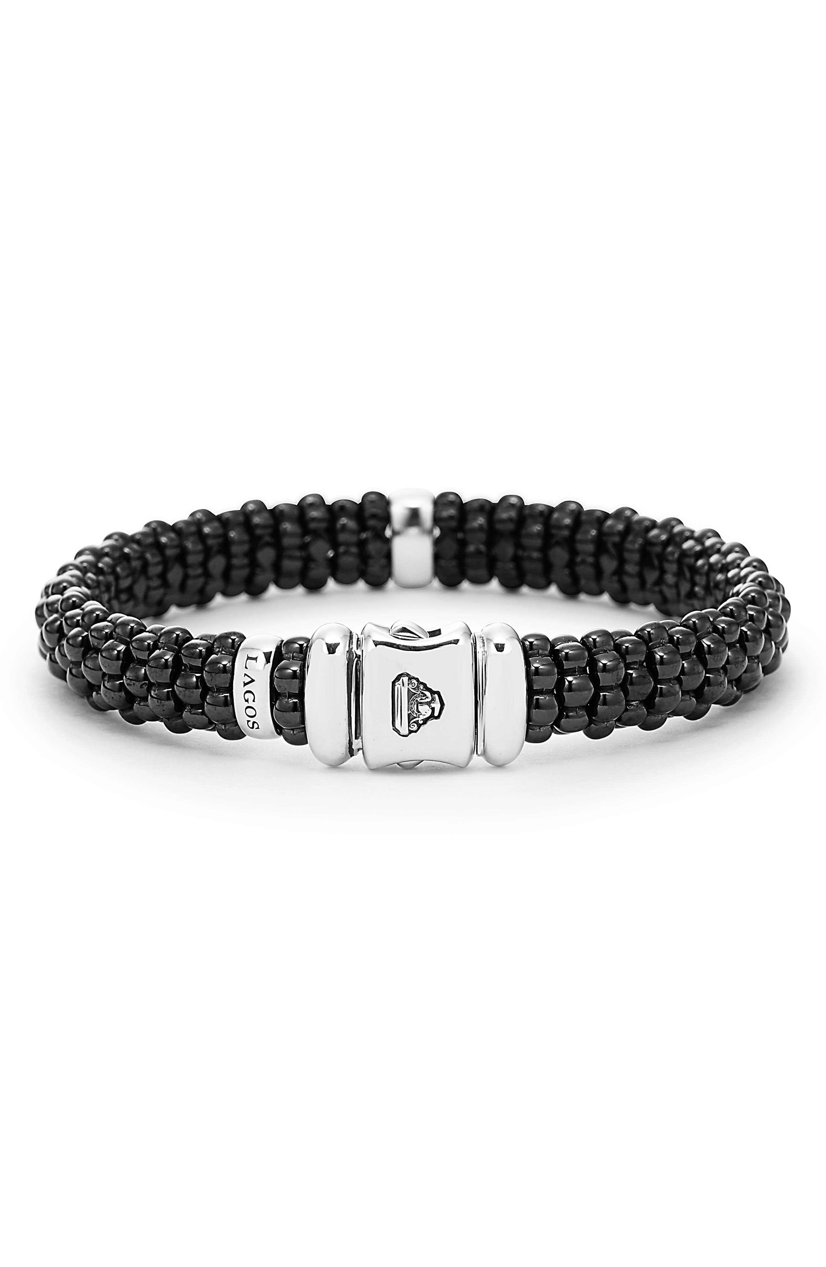 Black Caviar Bracelet,                             Alternate thumbnail 3, color,                             BLACK/ SILVER