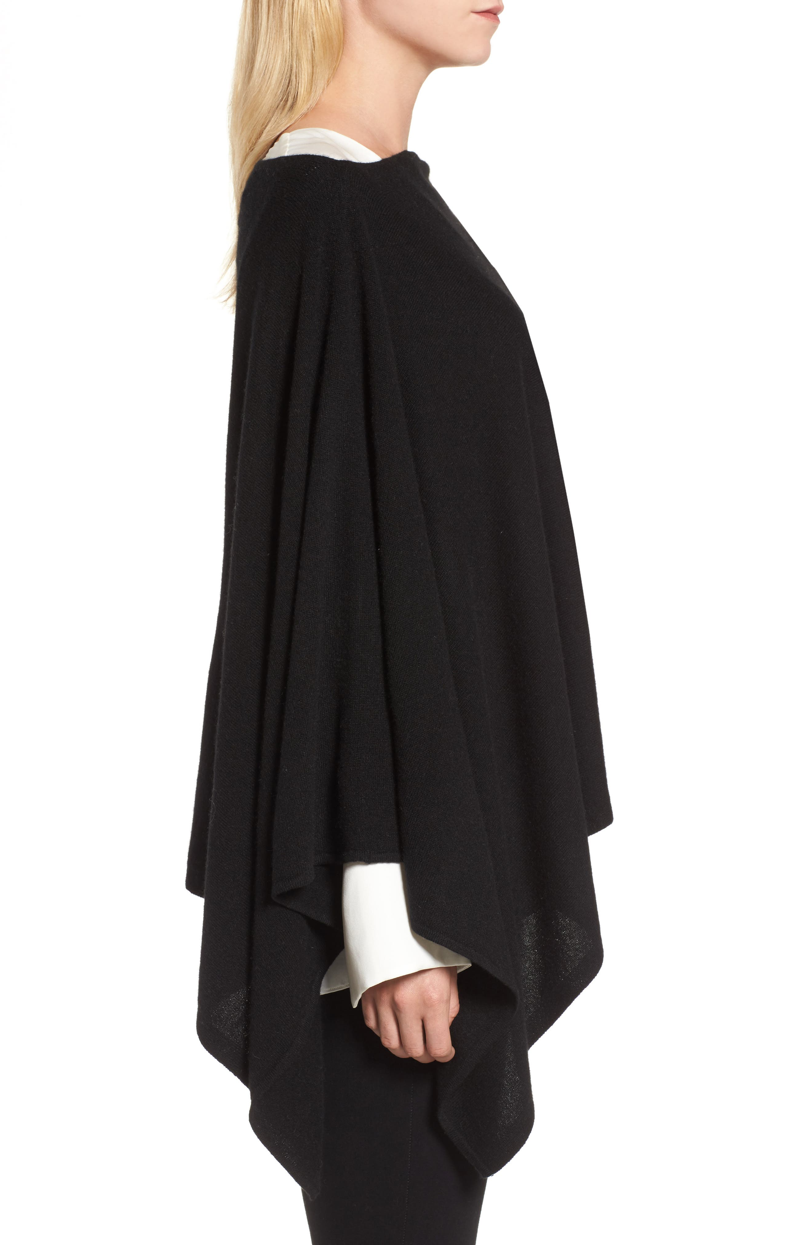 Convertible Cashmere Poncho,                             Alternate thumbnail 3, color,                             BLACK