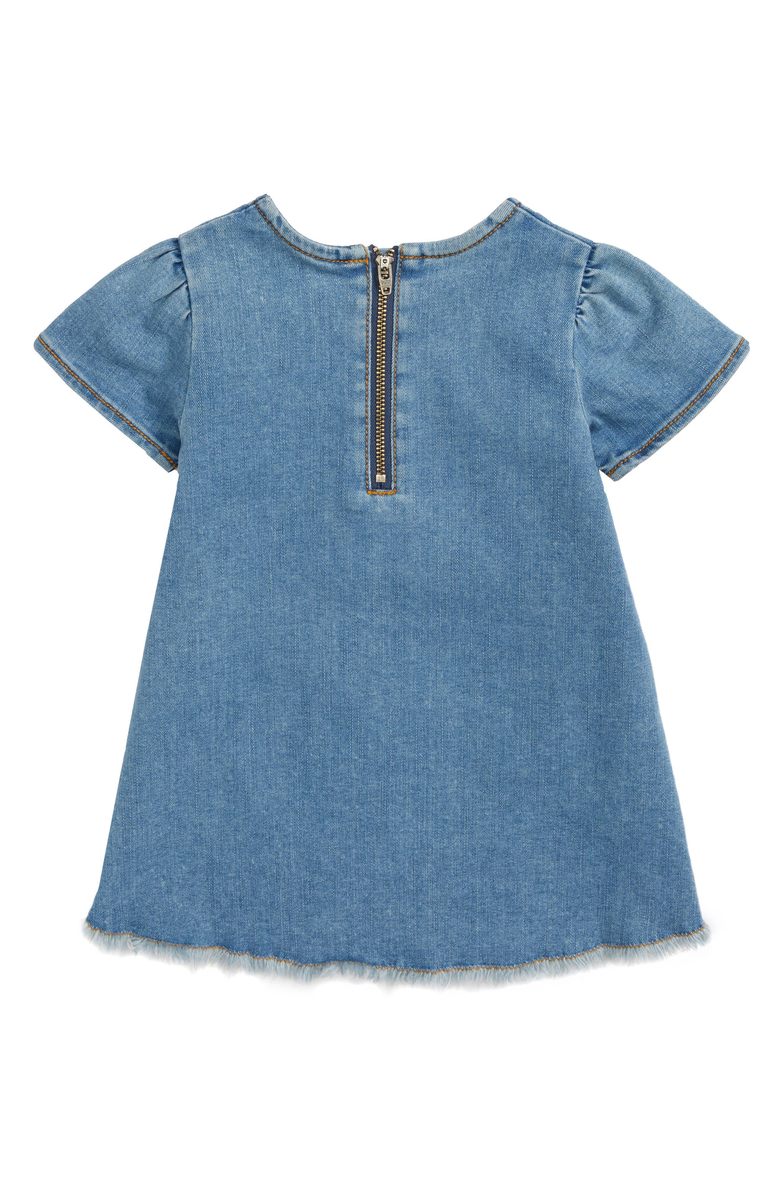 Embroidered Denim Dress,                             Alternate thumbnail 2, color,                             420