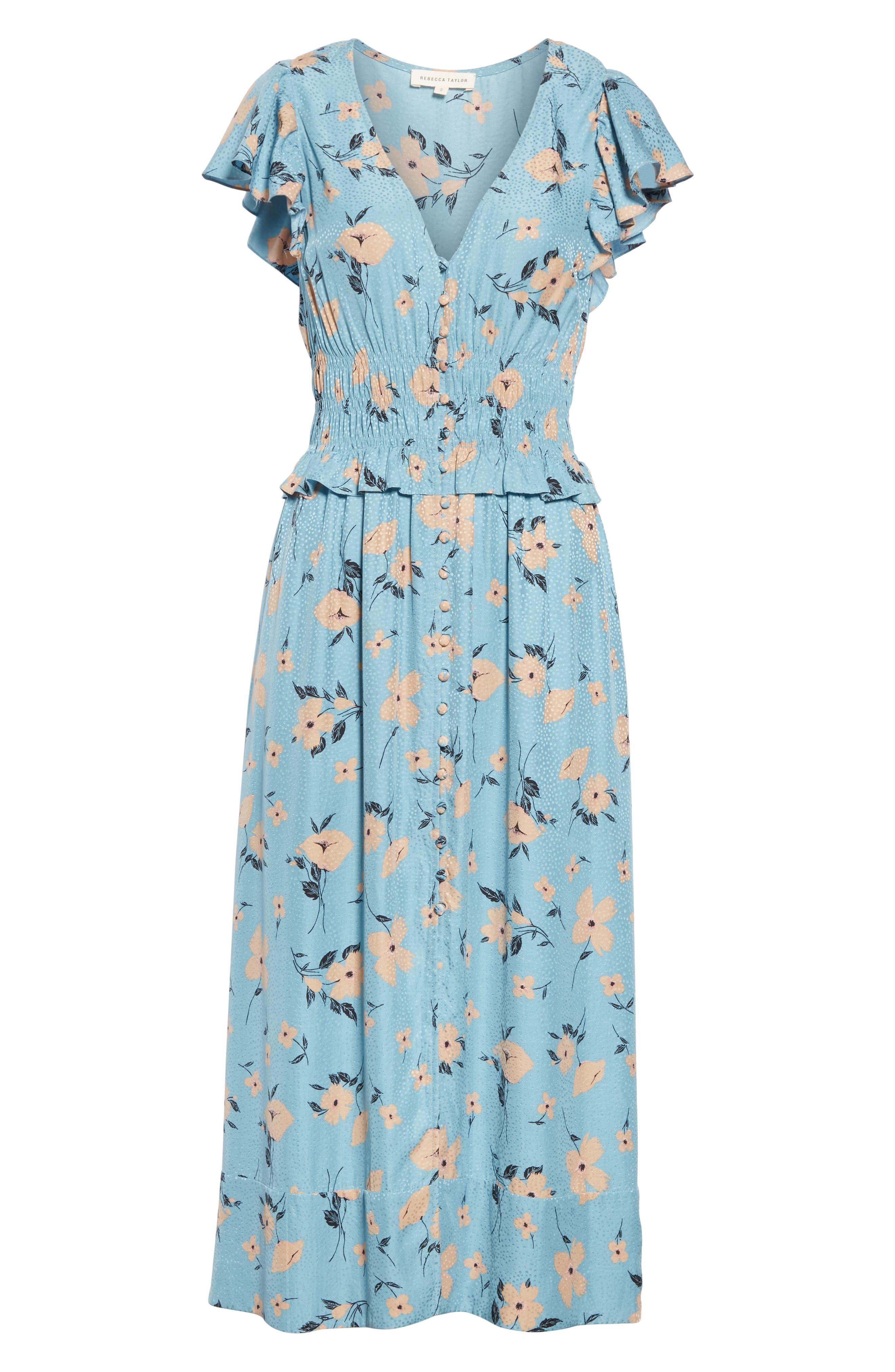 REBECCA TAYLOR,                             Daniella Floral Jacquard Silk Blend Dress,                             Alternate thumbnail 6, color,                             LAGOON COMBO