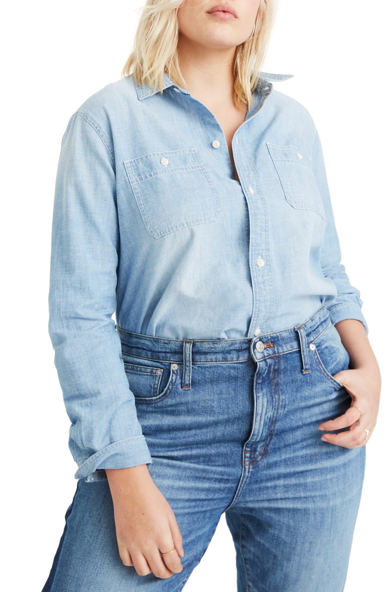 MADEWELL Ex-Boyfriend Classic Chambray Shirt, Main, color, EVIE WASH