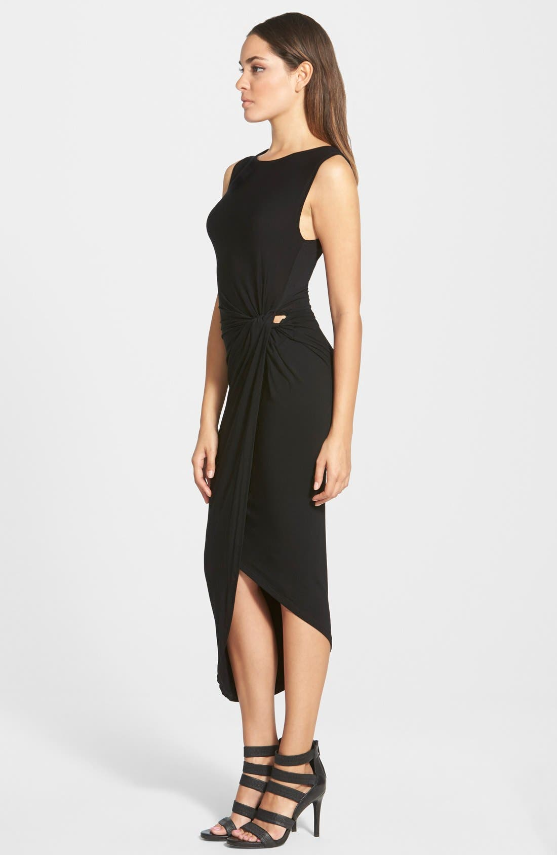 ASTR Knotted Body-Con Dress,                             Alternate thumbnail 6, color,                             001