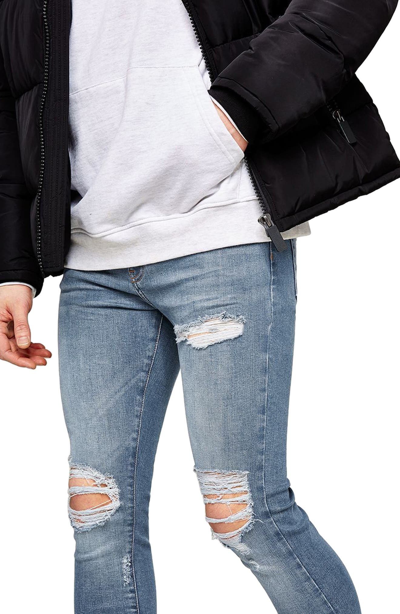 Ripped Spray-On Skinny Fit Jeans,                             Alternate thumbnail 3, color,                             400