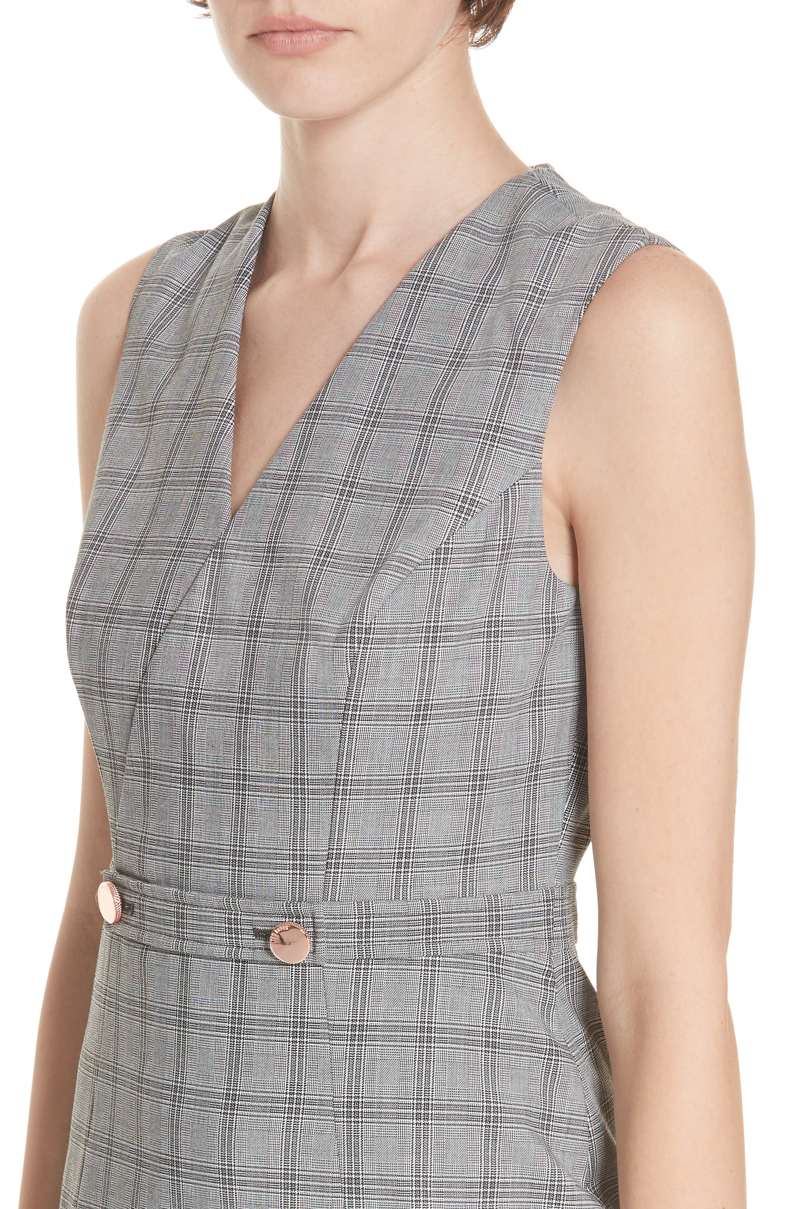 Ted Working Title Ristad Check Sheath Dress,                             Alternate thumbnail 4, color,                             GREY
