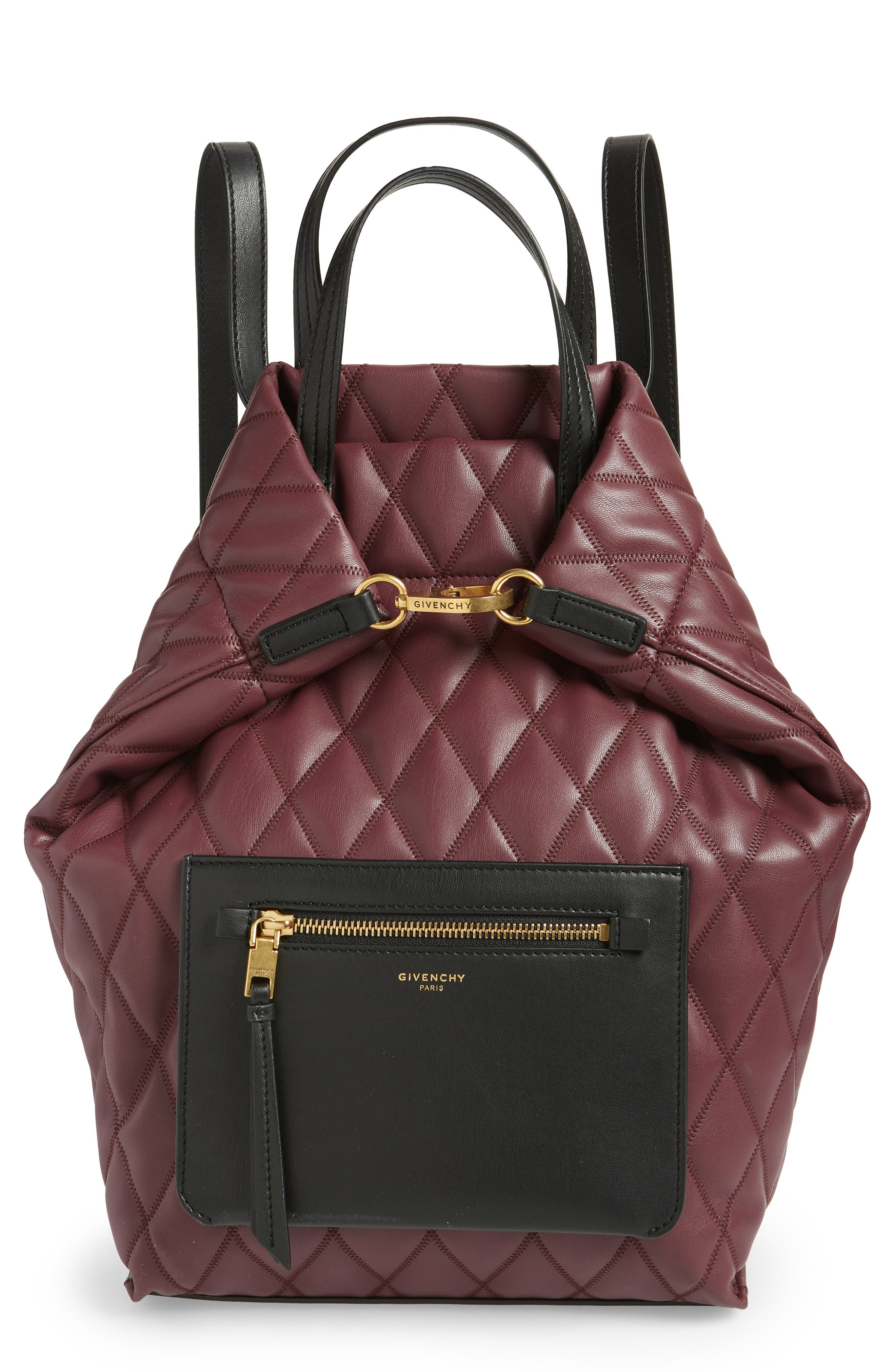 Duo Quilted Faux Leather Backpack,                         Main,                         color, AUBERGINE